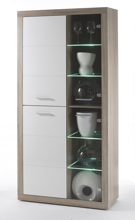 Vitrine 4-trg CAN CAN T5 inkl LED Beleuchtung von HBZ Sonoma Eiche ...