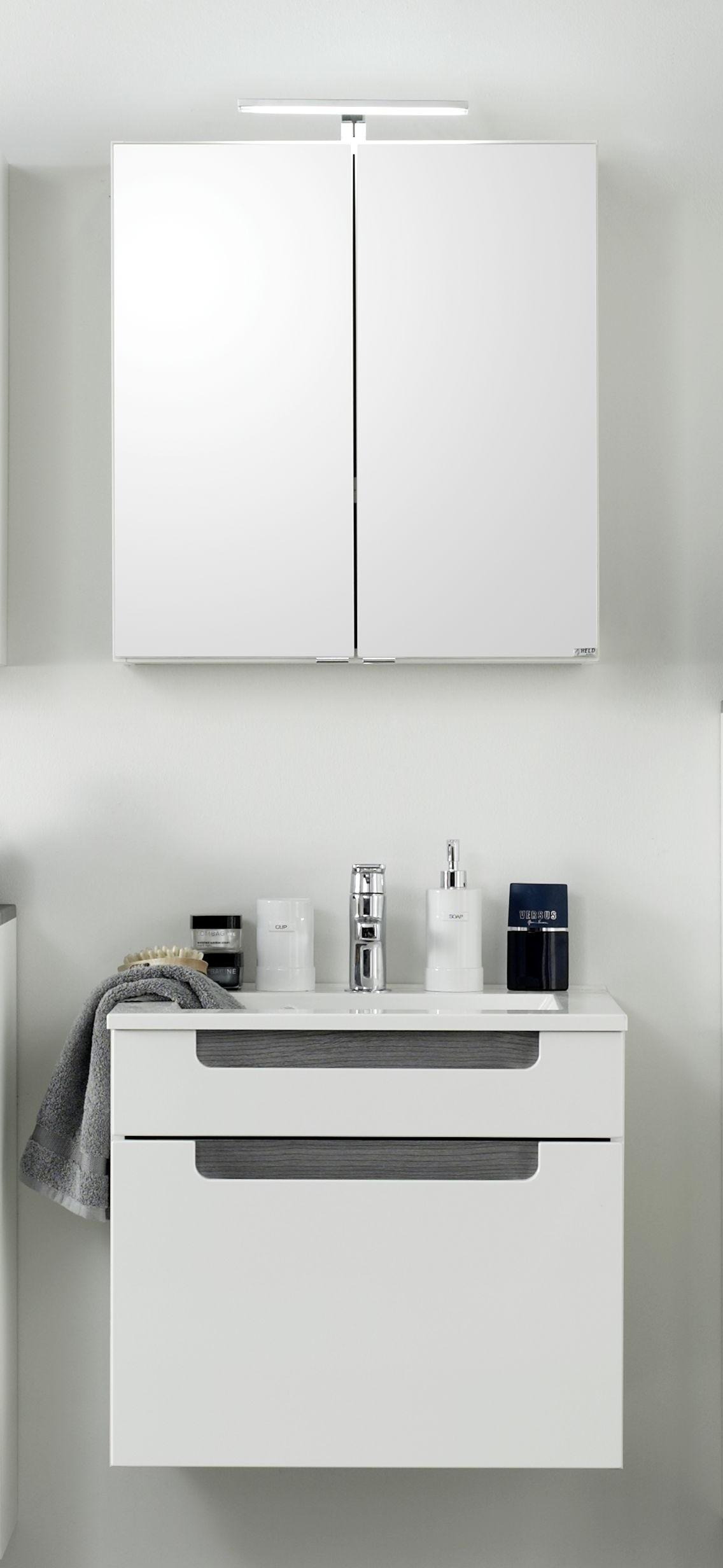Waschtisch-Set 60 2-tlg Siena inkl LED Beleuchtung von Held Möbel Weiss Hgl / Eiche Rauchsilber