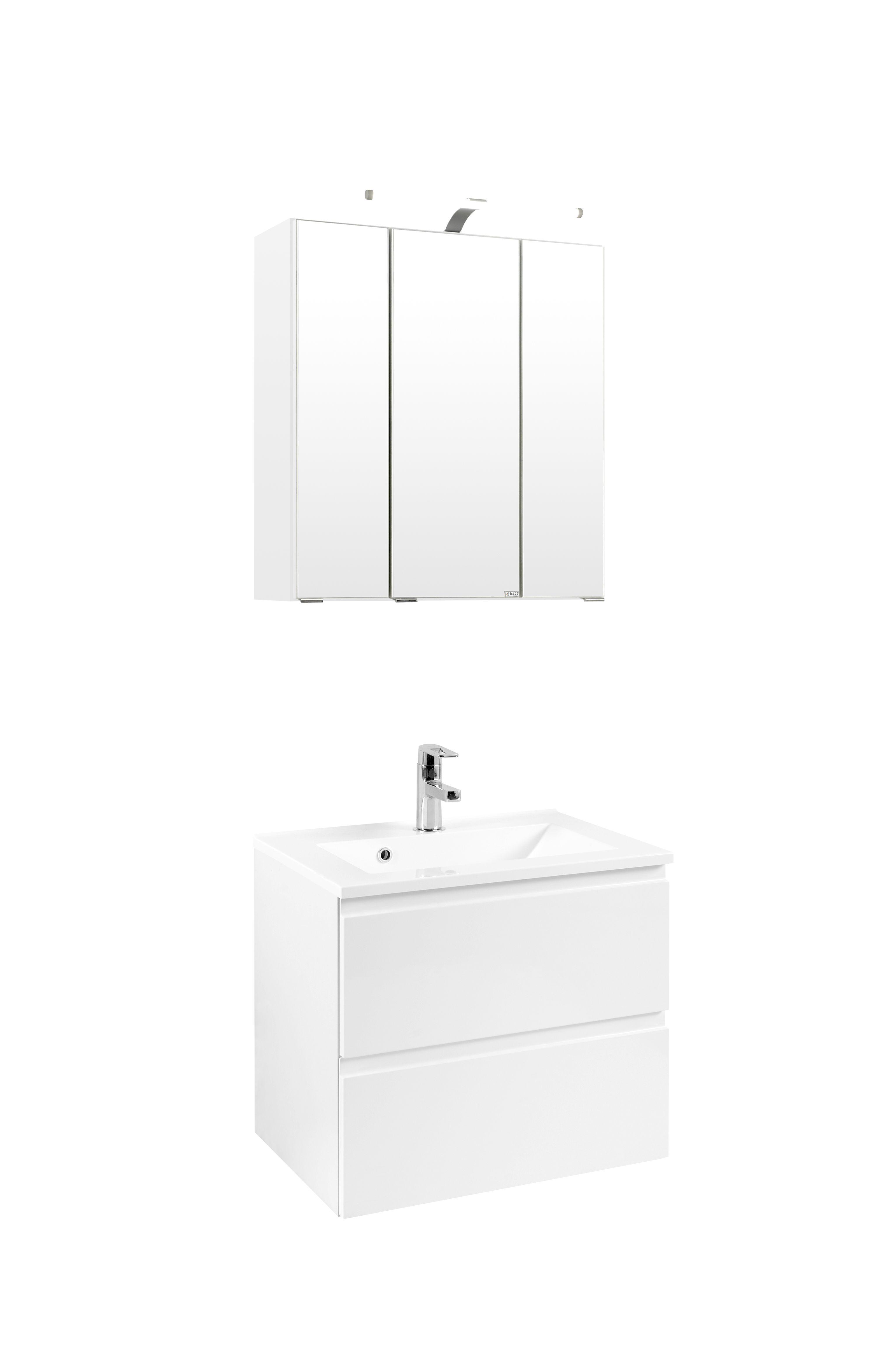 waschtisch set 60 cardiff inkl led beleuchtung von held m bel wei. Black Bedroom Furniture Sets. Home Design Ideas