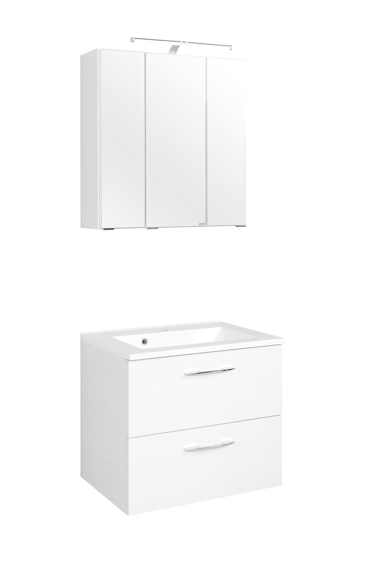 Waschtisch-Set 60 Portofino inkl Beleuchtung von Held Möbel Weiß