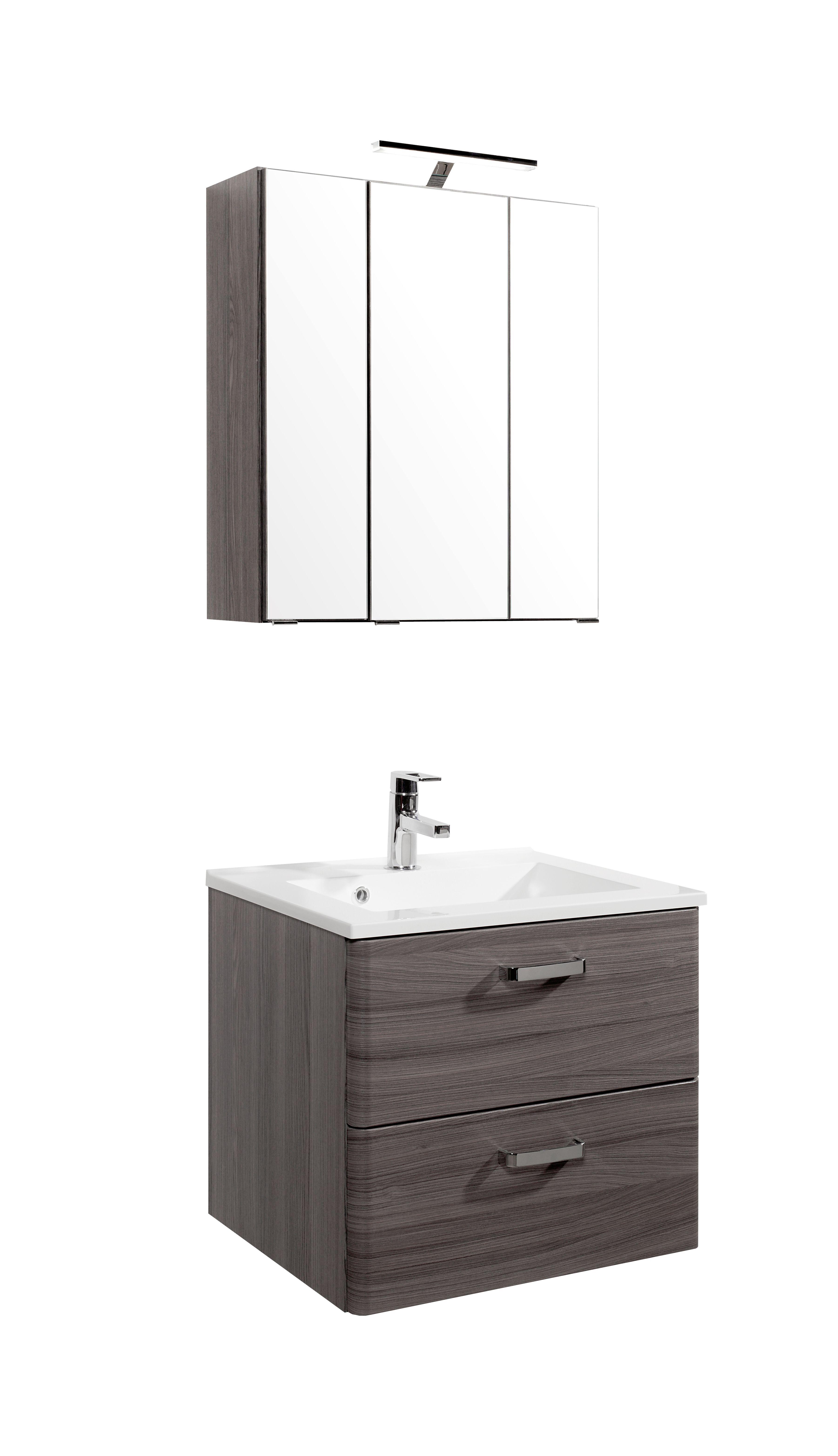 waschtisch set 60 inkl led beleuchtung phoenix von held m bel eiche dunkel. Black Bedroom Furniture Sets. Home Design Ideas