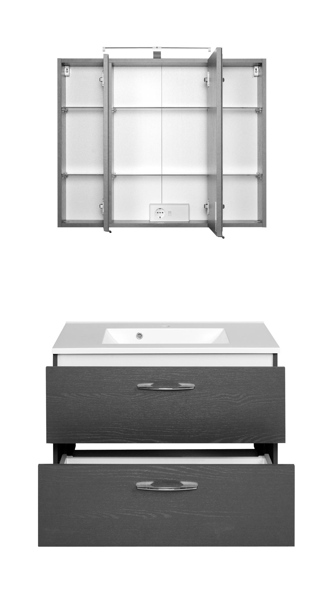 Waschtisch-Set 80 Portofino inkl LED Beleuchtung von Held Möbel Graphitgrau