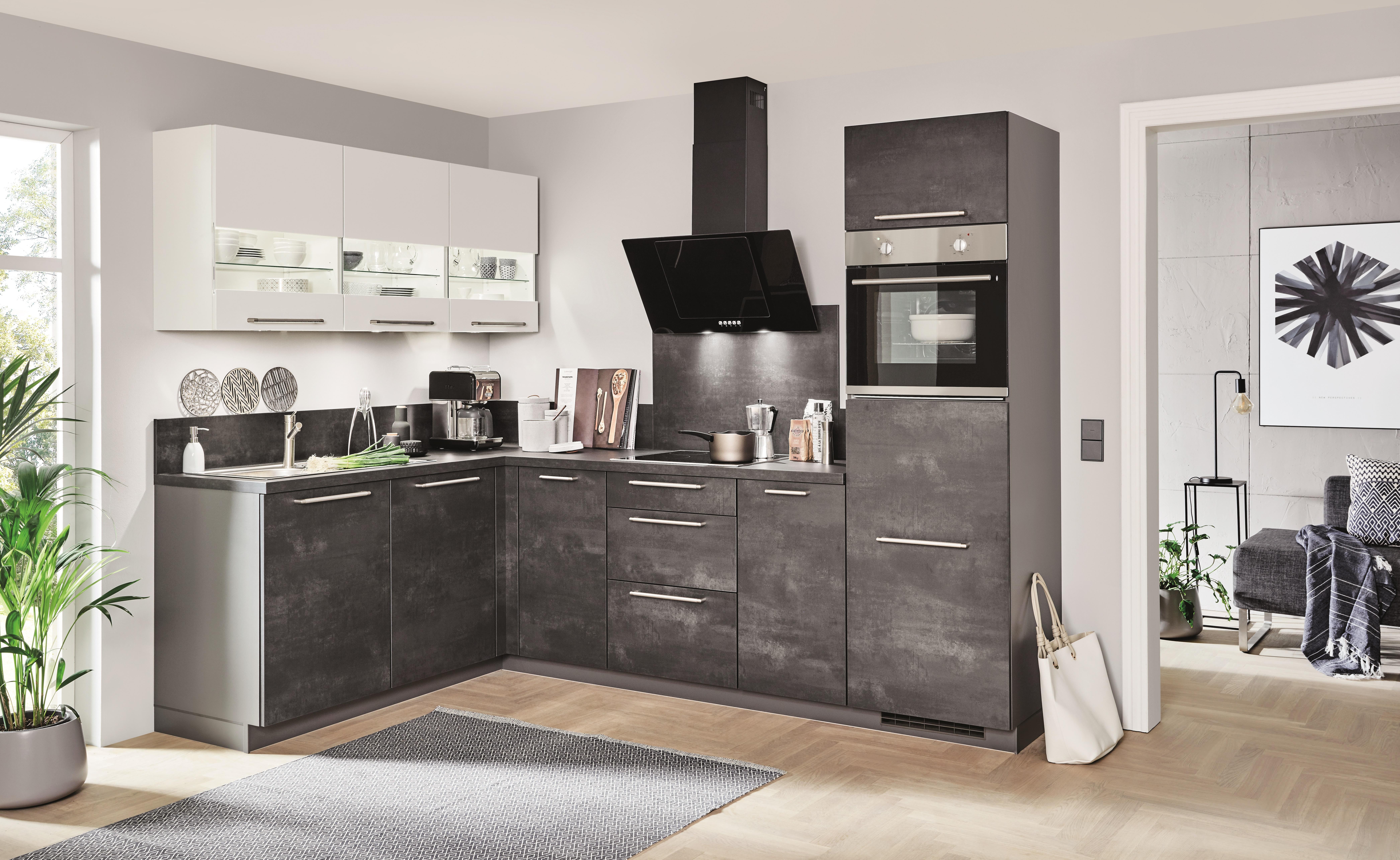 Winkelküche SPEED 239/288 inkl E-Geräte 185 x 275 cm von Nobilia Weiss /  Schwarzbeton