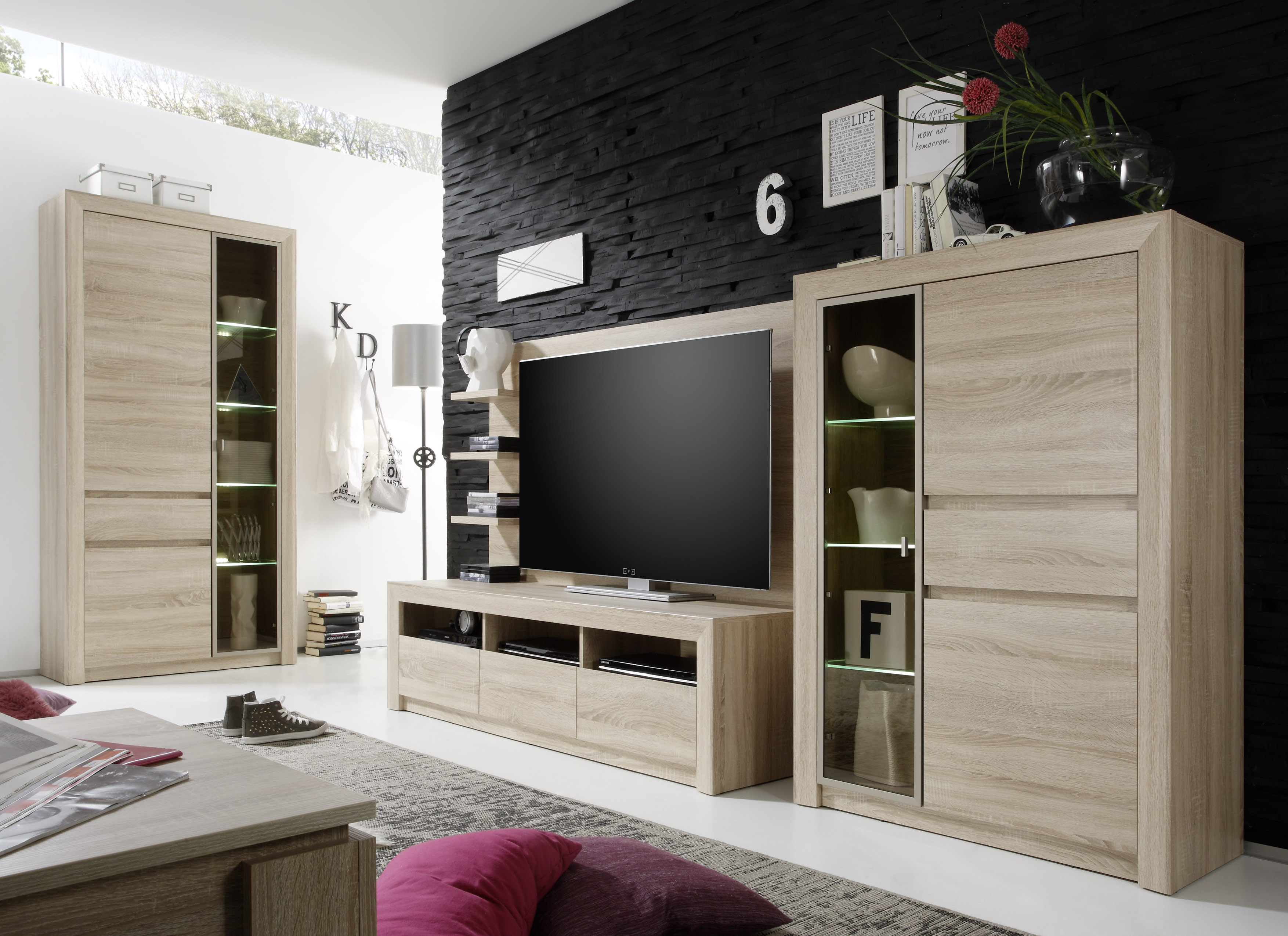 wohnwand eiche sonoma hell mit 2 schr nke. Black Bedroom Furniture Sets. Home Design Ideas