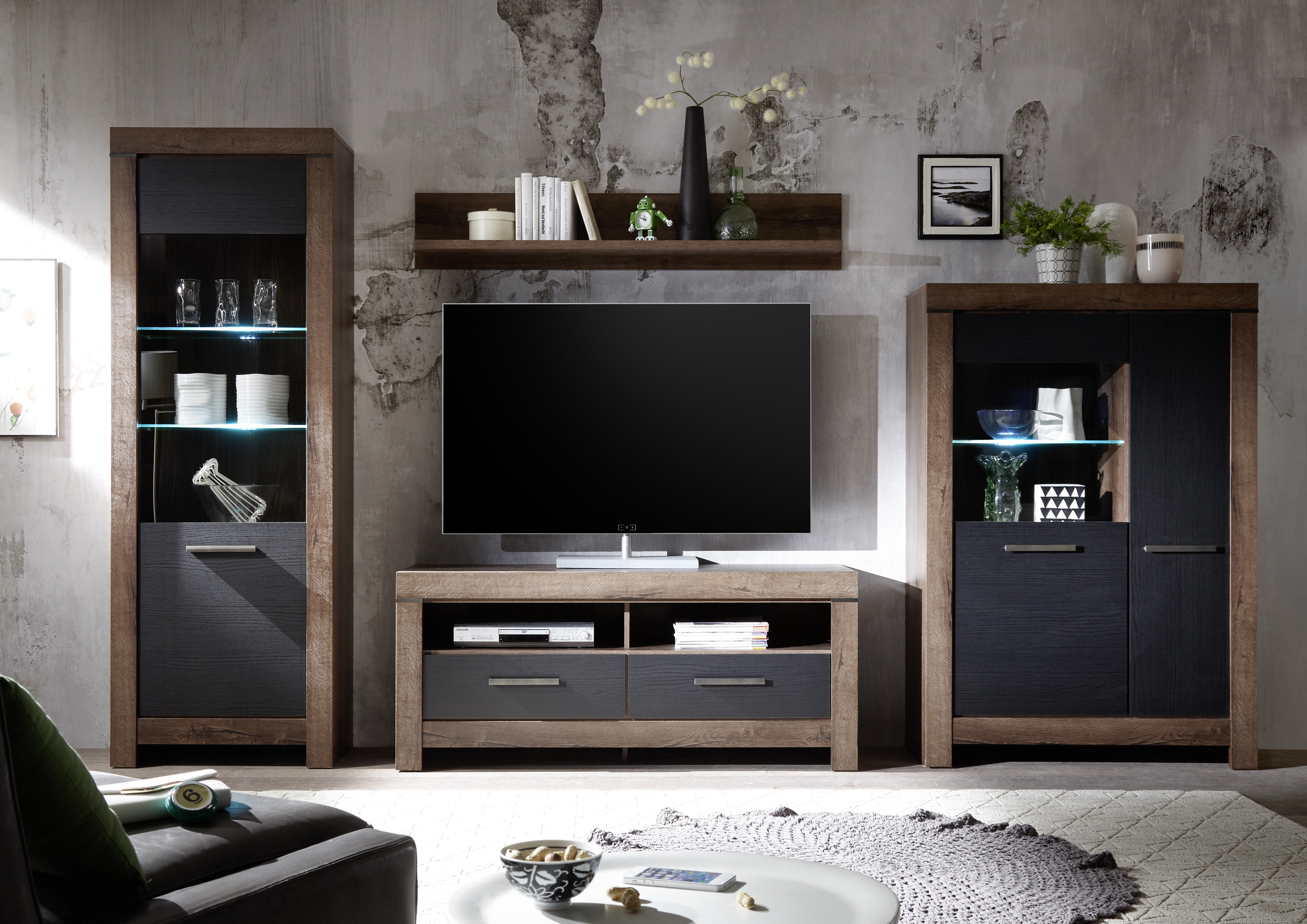 wohnwand inkl beleuchtung balin von hbz eiche canyon. Black Bedroom Furniture Sets. Home Design Ideas