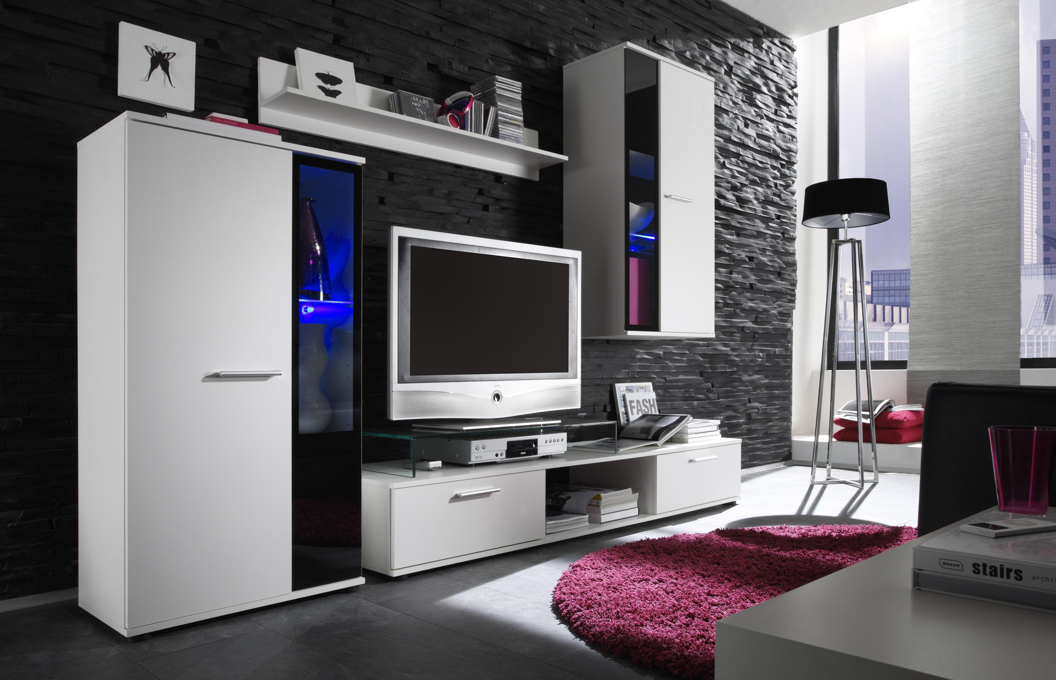wohnwand mit beleuchtung schwarz weiss. Black Bedroom Furniture Sets. Home Design Ideas