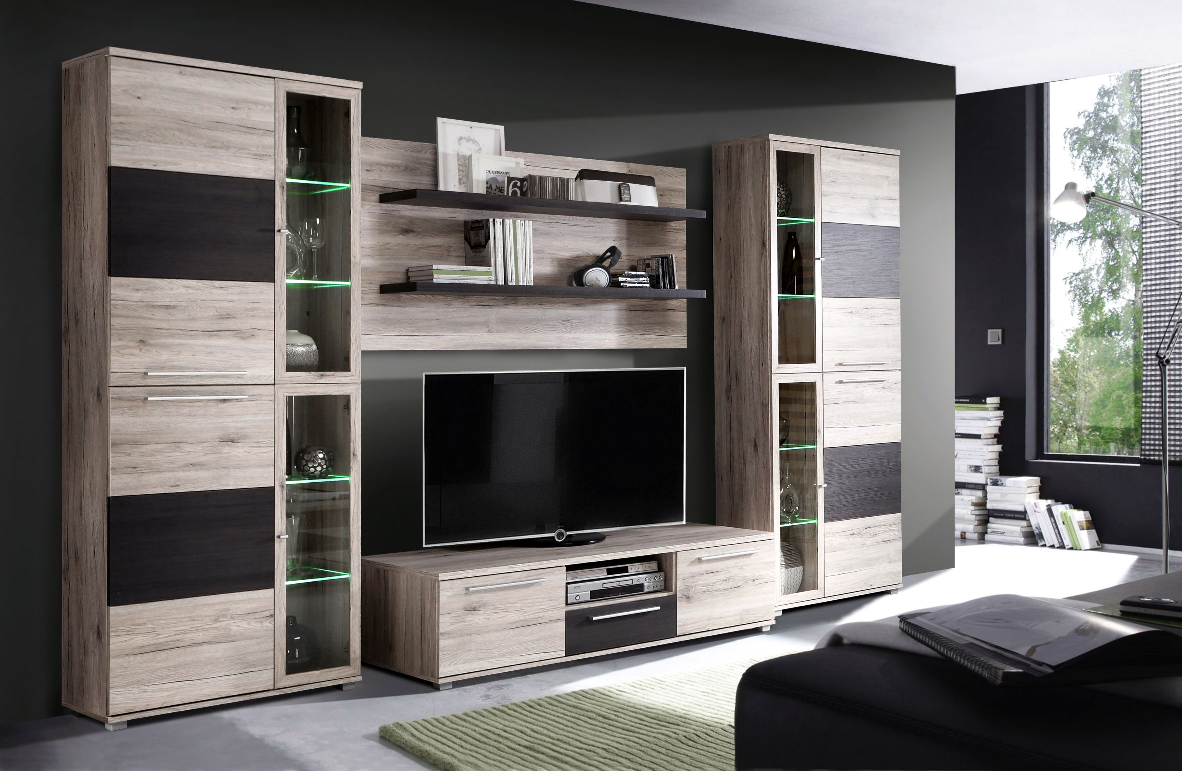 wohnzimmerm bel mit viel stauraum m belideen. Black Bedroom Furniture Sets. Home Design Ideas