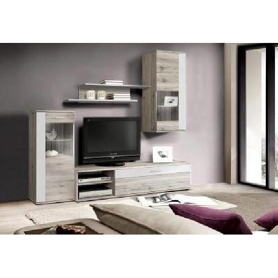 wohnwand sandeiche weiss inkl glasbodenbeleuchtung. Black Bedroom Furniture Sets. Home Design Ideas