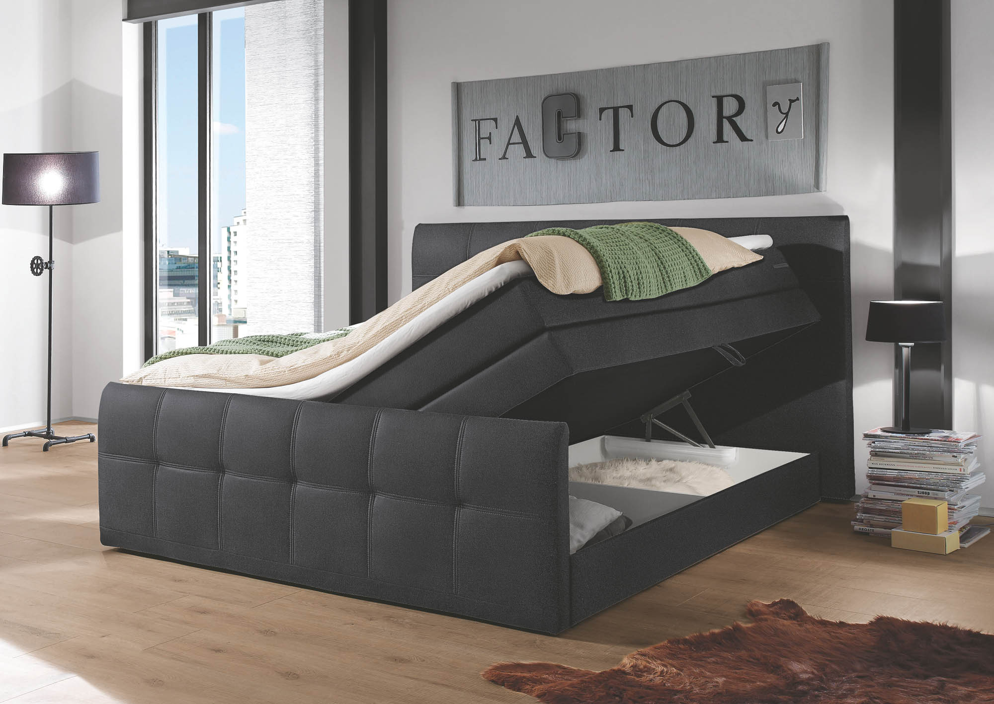 sacramento boxspringbett 180x200 inkl topper mit bettkasten by wohnorama ebay. Black Bedroom Furniture Sets. Home Design Ideas