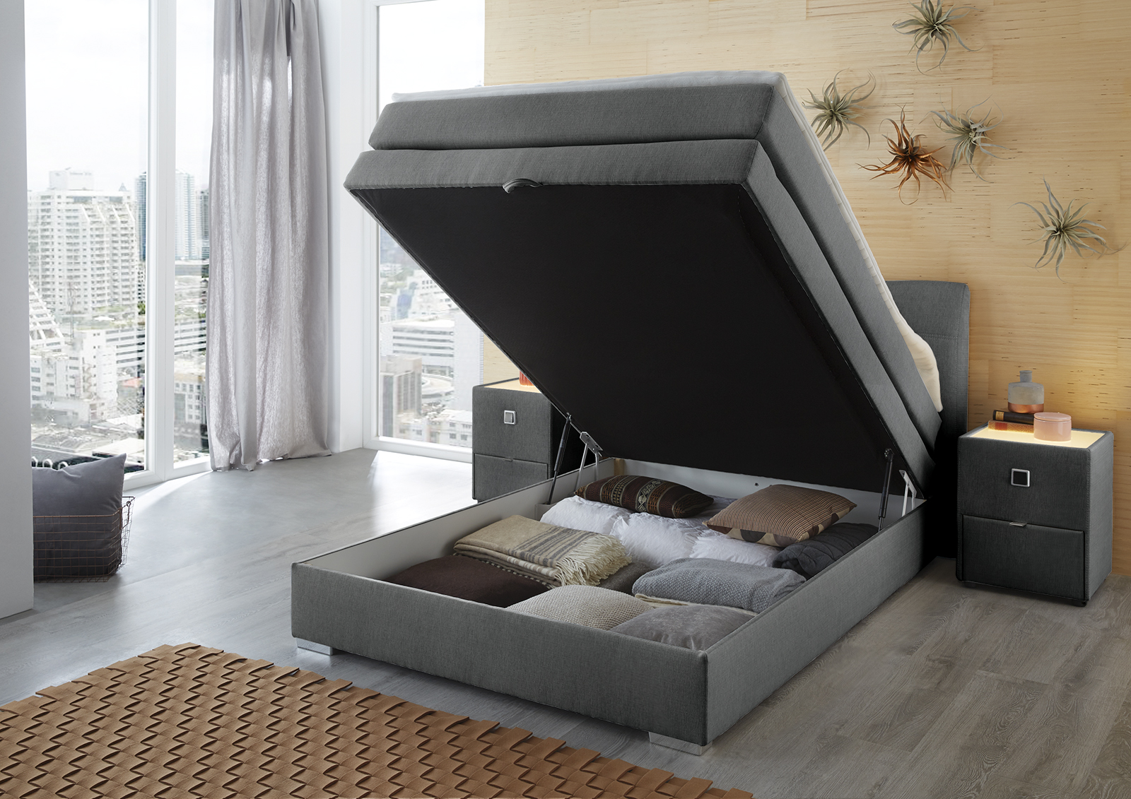 amelie boxspringbett 140x200 cm mit intergriertem bettkasten braun. Black Bedroom Furniture Sets. Home Design Ideas