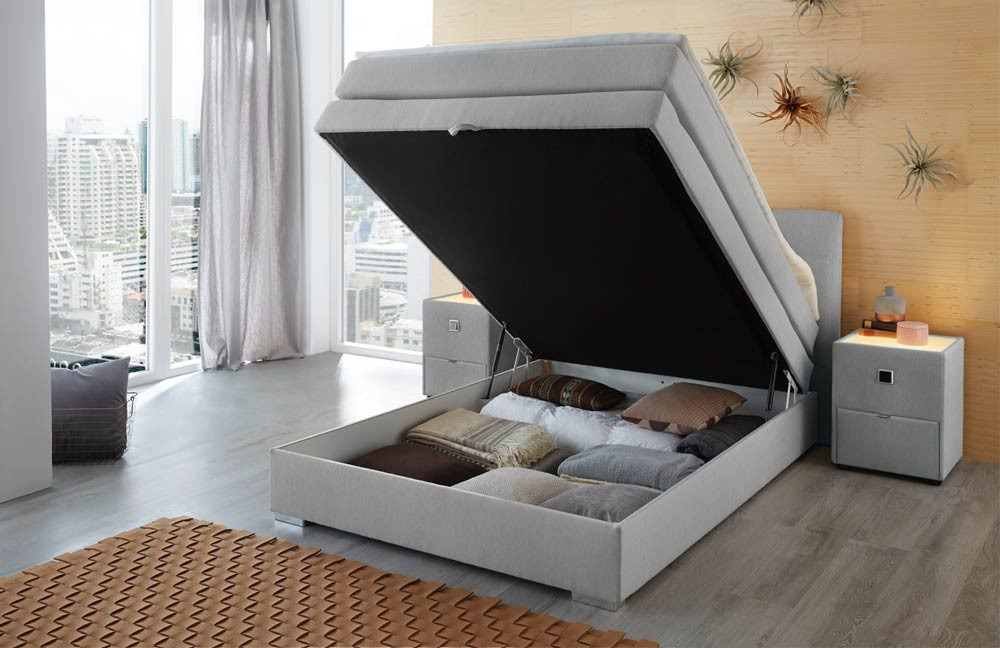 amelie boxspringbett 140x200 cm mit intergriertem bettkasten hellgrau. Black Bedroom Furniture Sets. Home Design Ideas