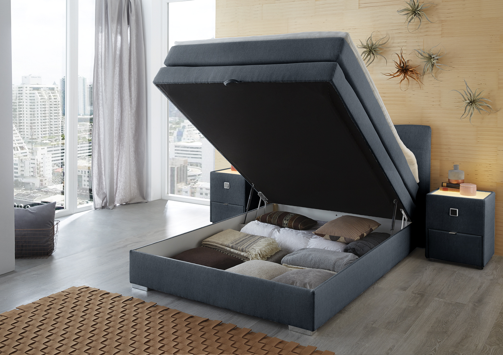 amelie boxspringbett 140x200 cm inkl bettkasten blau. Black Bedroom Furniture Sets. Home Design Ideas