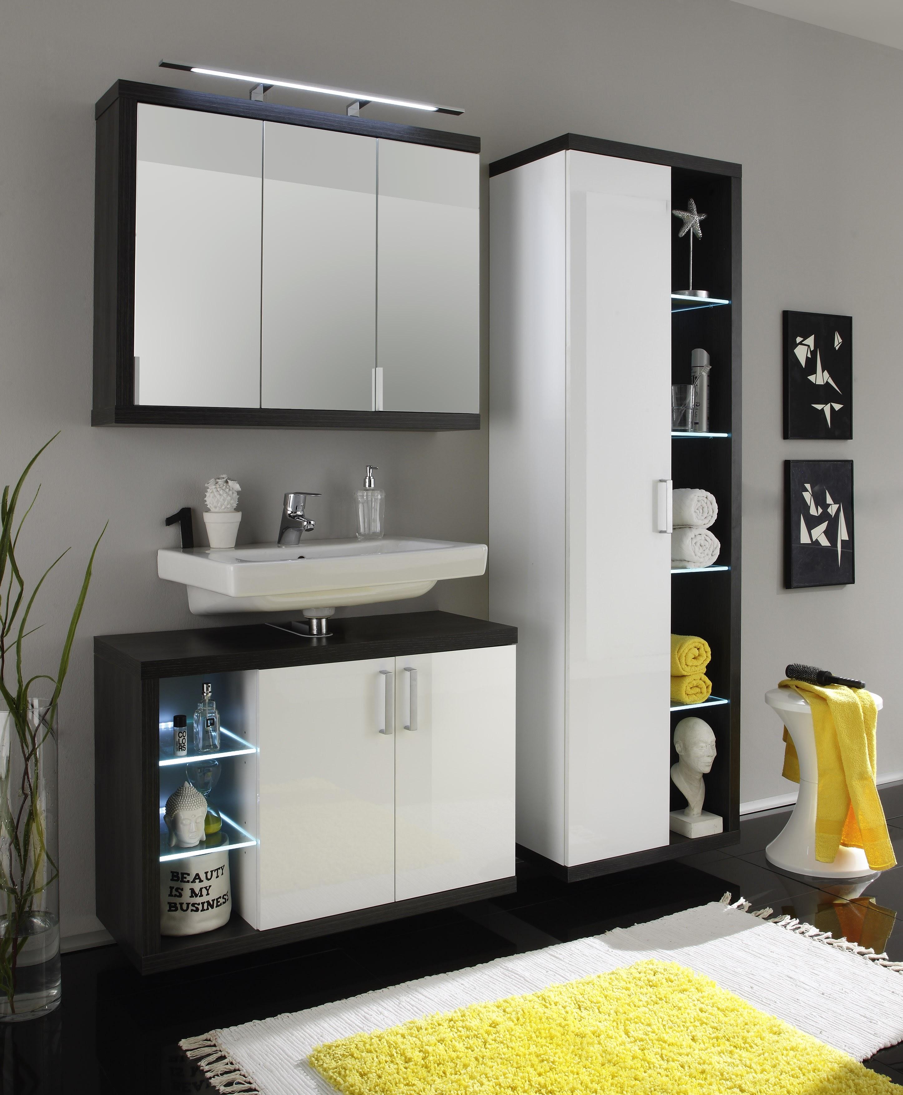 badezimmer rauchsilber weiss inklusive beleuchtung. Black Bedroom Furniture Sets. Home Design Ideas