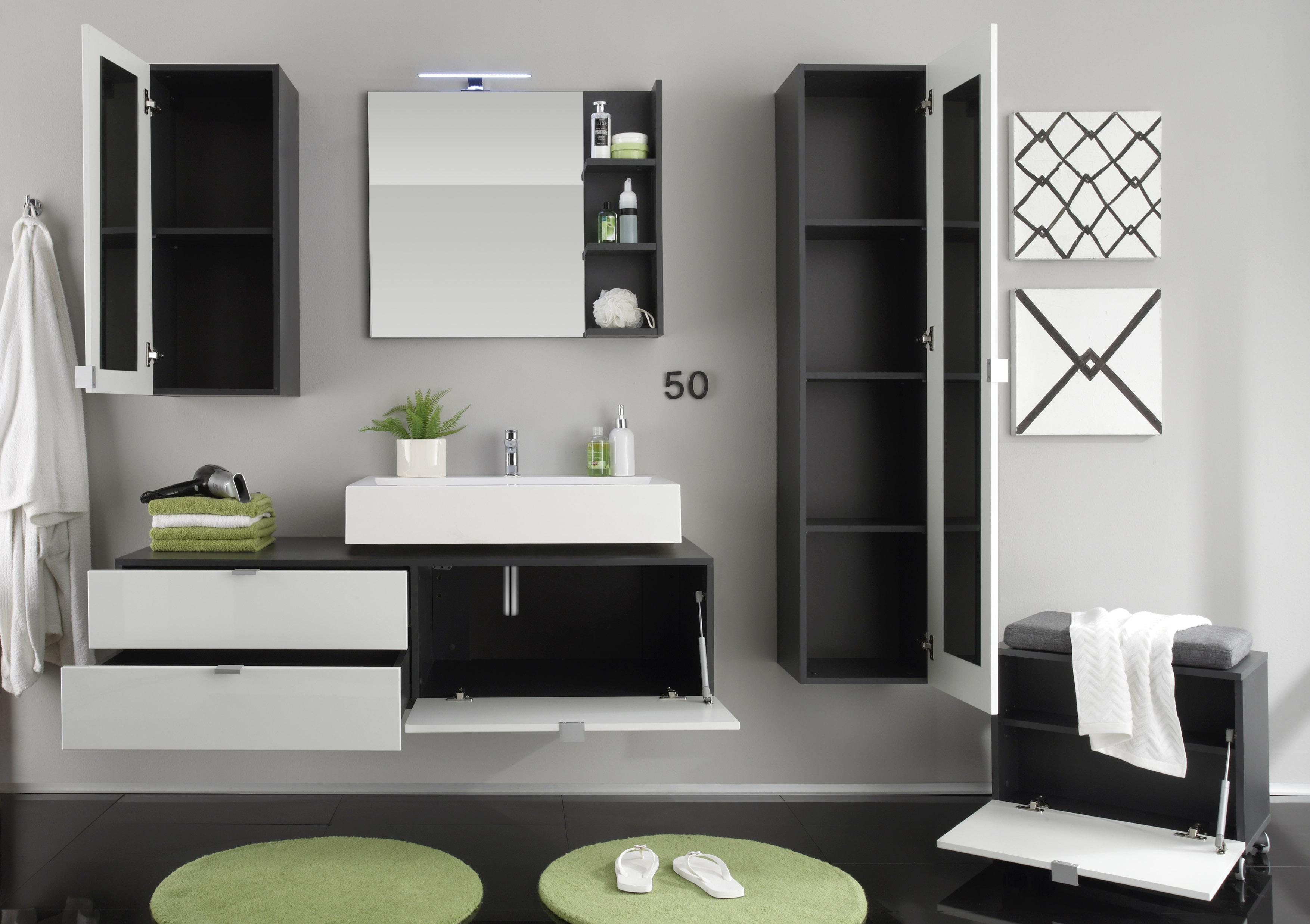 badkombination h ngend weiss hg grau. Black Bedroom Furniture Sets. Home Design Ideas