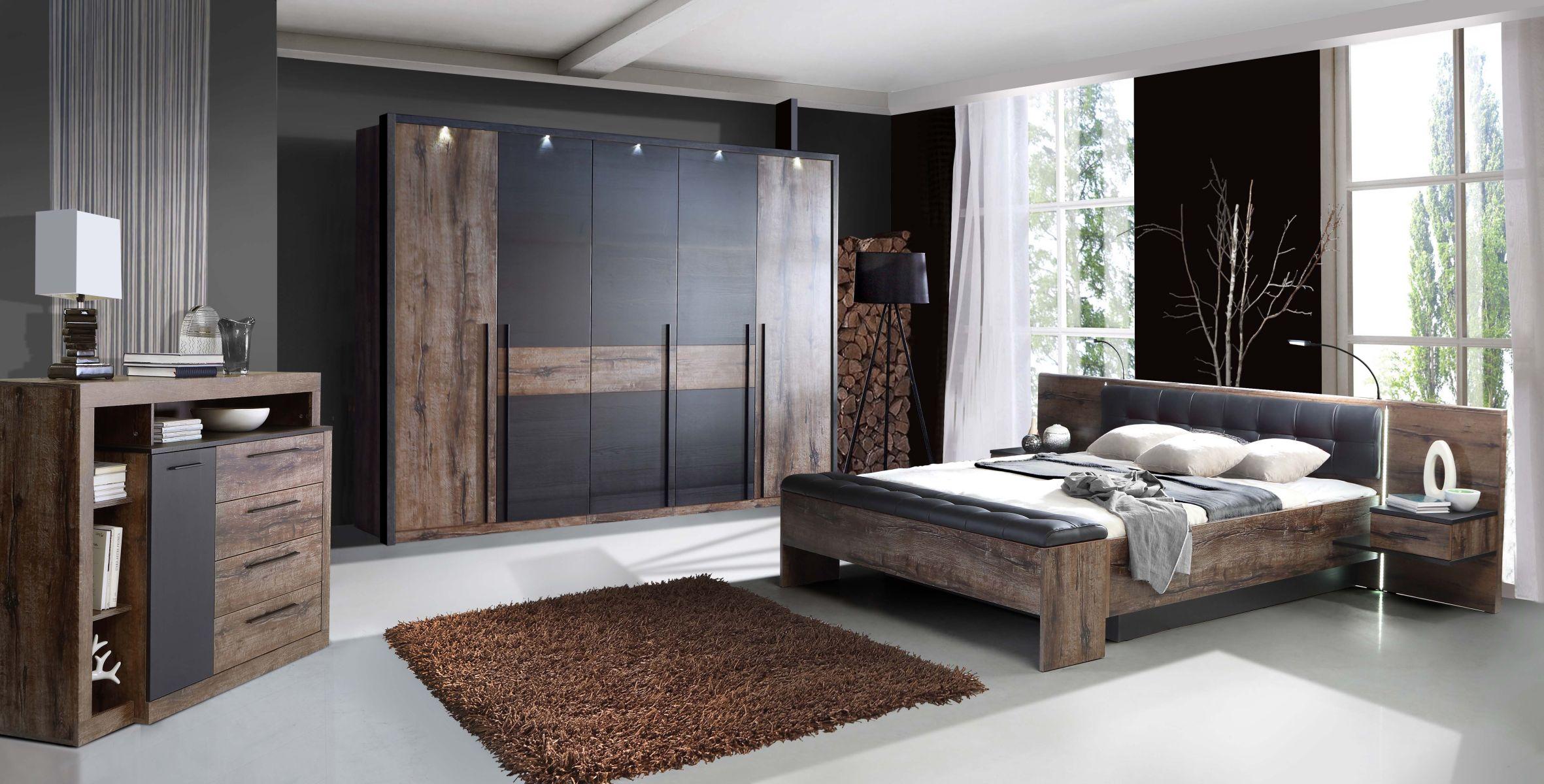 180x200 bettanlage inkl beleuchtung bellevue von forte schlammeiche schwarzeiche. Black Bedroom Furniture Sets. Home Design Ideas