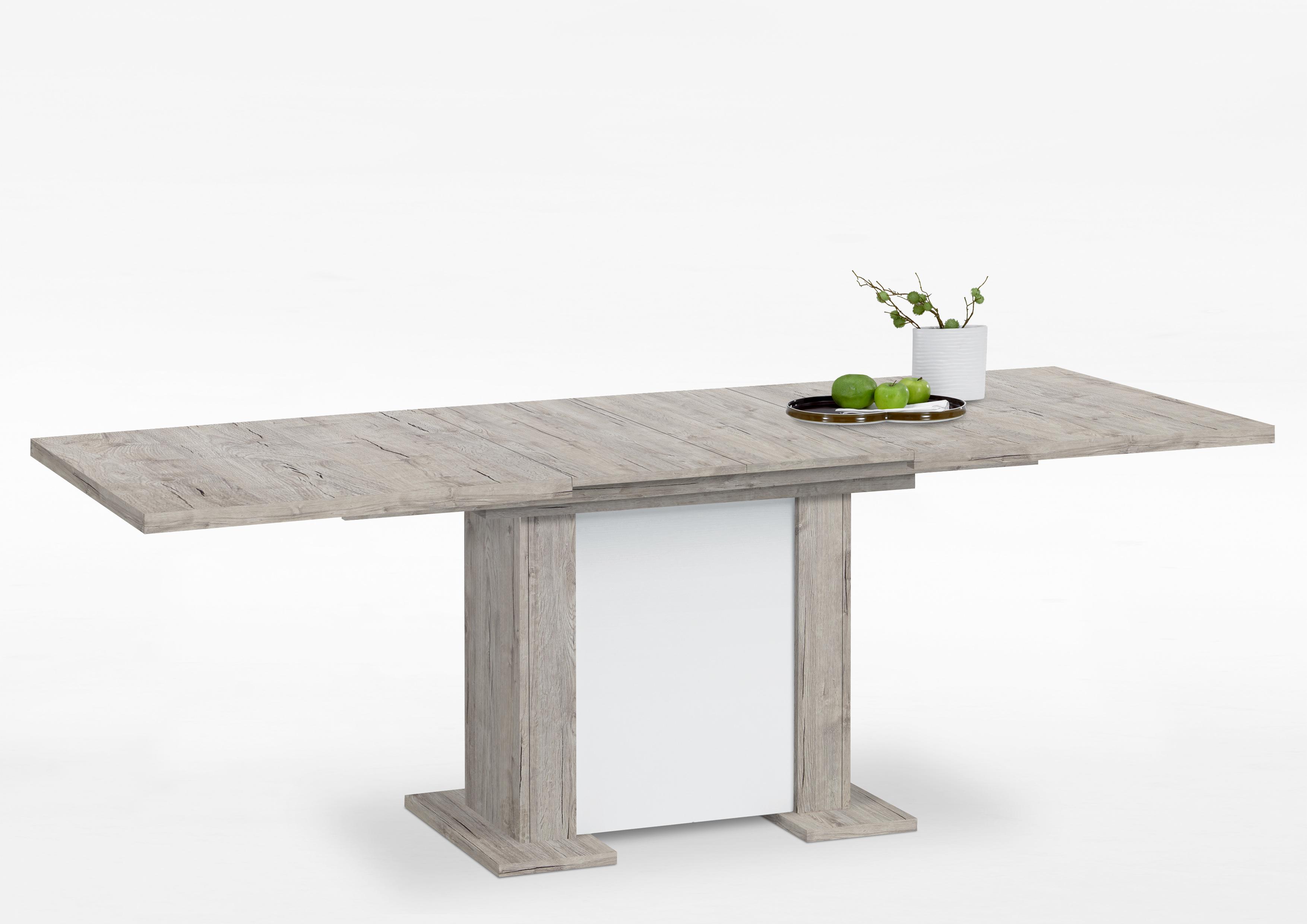 berck esstisch ausziehbar 160 195 230 cm breit von fmd sandeiche weiss i. Black Bedroom Furniture Sets. Home Design Ideas