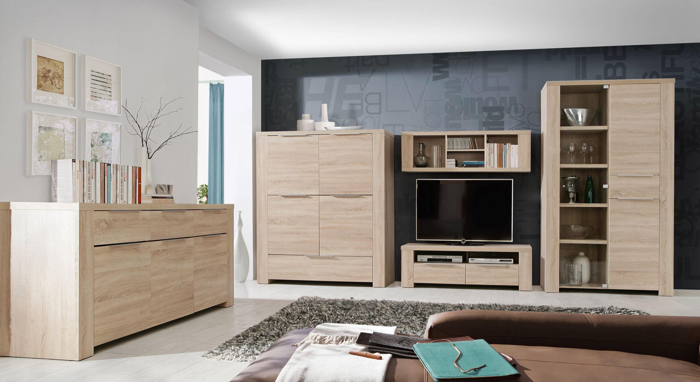 vitrine 3 trg calpe von forte sonoma eiche. Black Bedroom Furniture Sets. Home Design Ideas