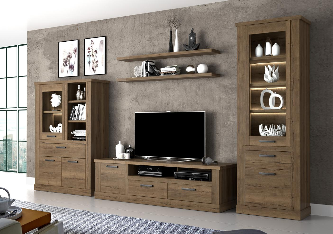 wandregal ca 140 cm breit corona von forte eiche tabak. Black Bedroom Furniture Sets. Home Design Ideas