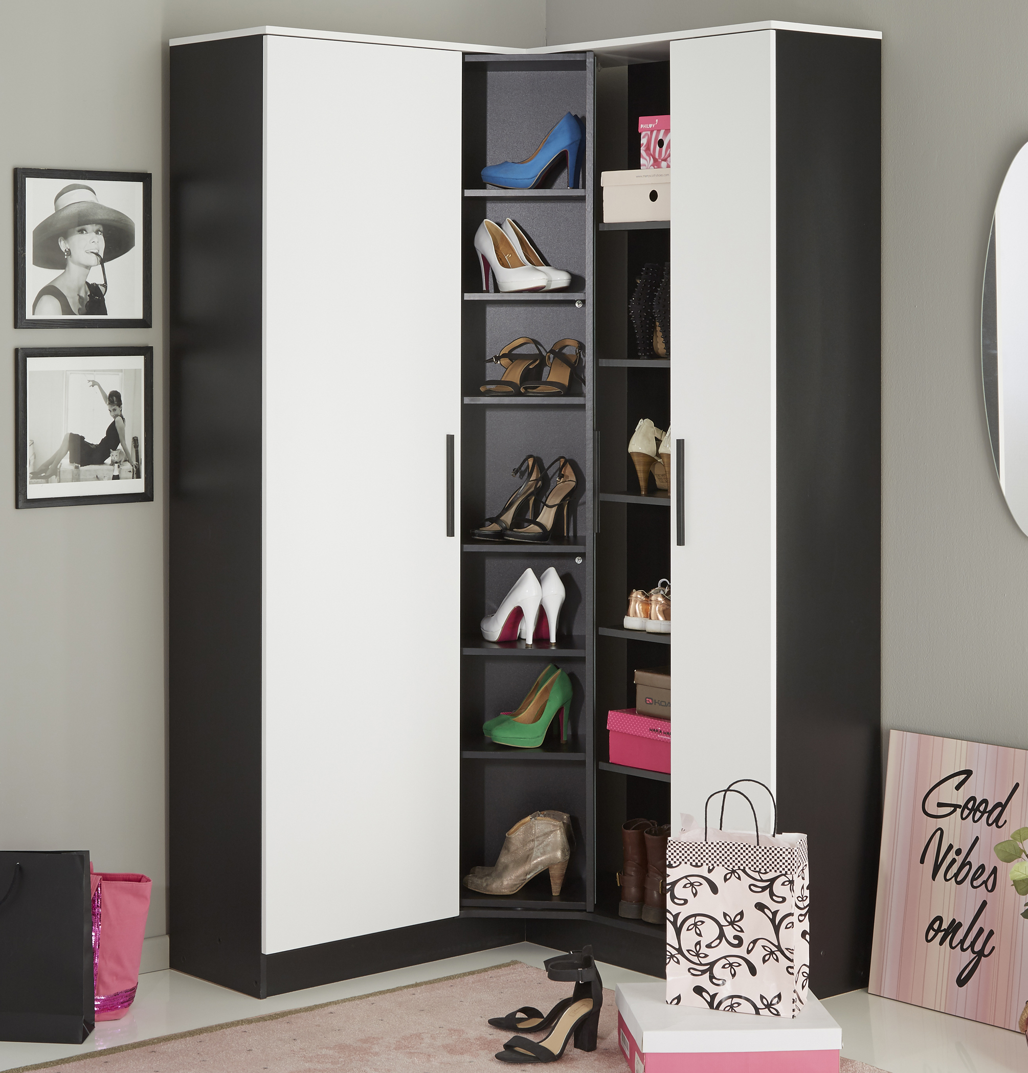 eck schuhschrank inkl spiegel u drehbarem regal escarpin. Black Bedroom Furniture Sets. Home Design Ideas