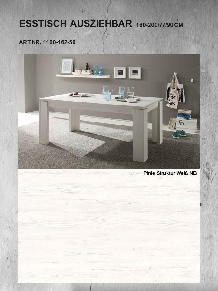 esstisch universal von trendteam pinie wei struktur. Black Bedroom Furniture Sets. Home Design Ideas