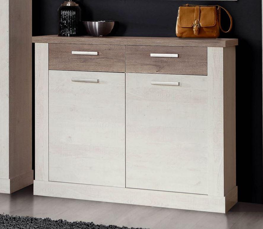 schuhschrank 2 trg 2 schubladen duro von forte pinia weiss eiche antik. Black Bedroom Furniture Sets. Home Design Ideas