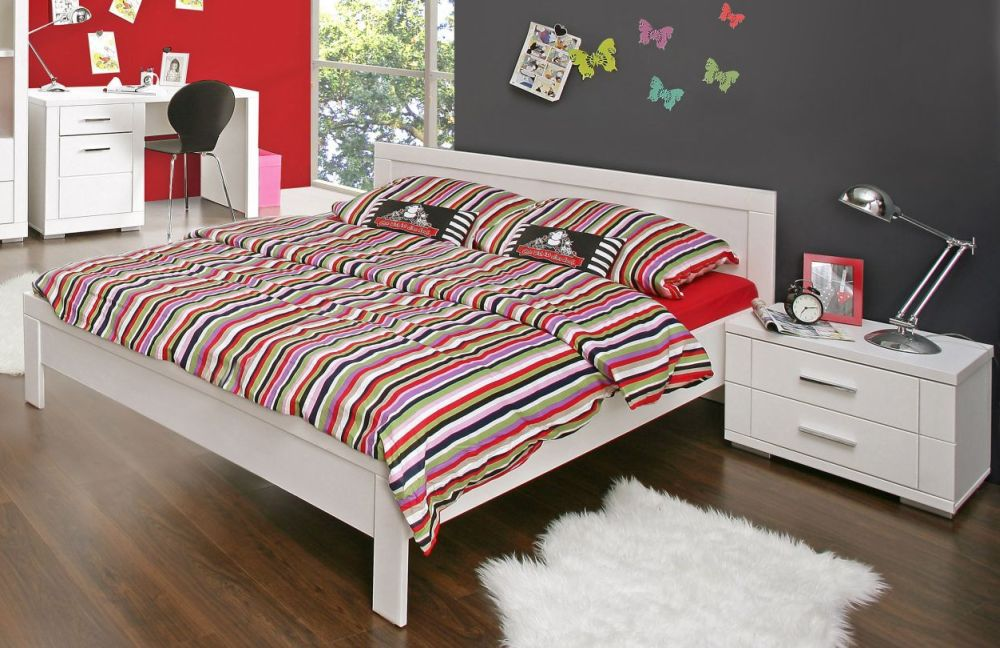 jugendzimmer 140x200 jugendbett snow. Black Bedroom Furniture Sets. Home Design Ideas