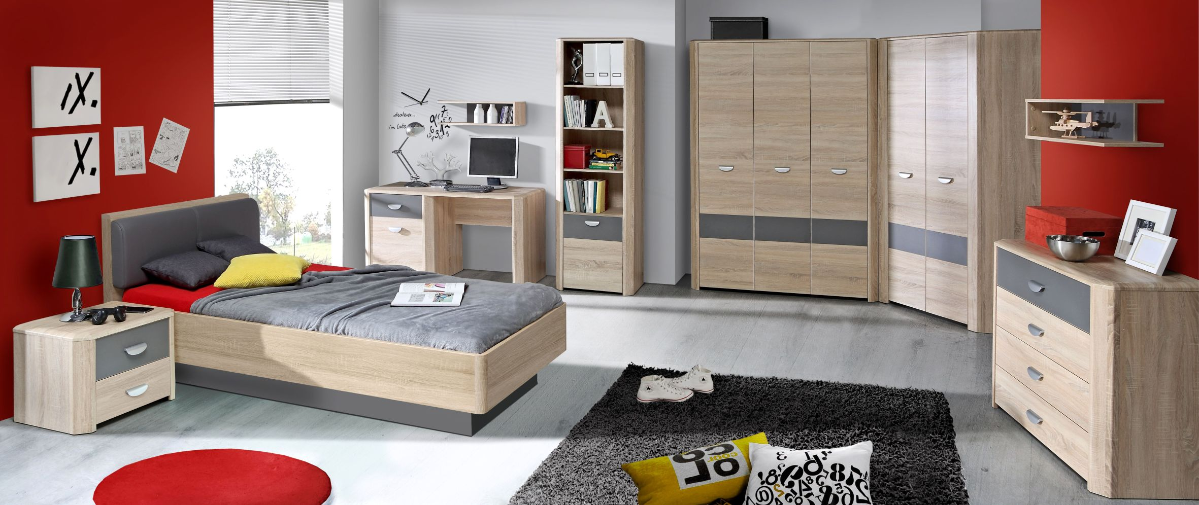 jugendzimmer 140x200 jugendbett yoop kopfteil gepolstert. Black Bedroom Furniture Sets. Home Design Ideas