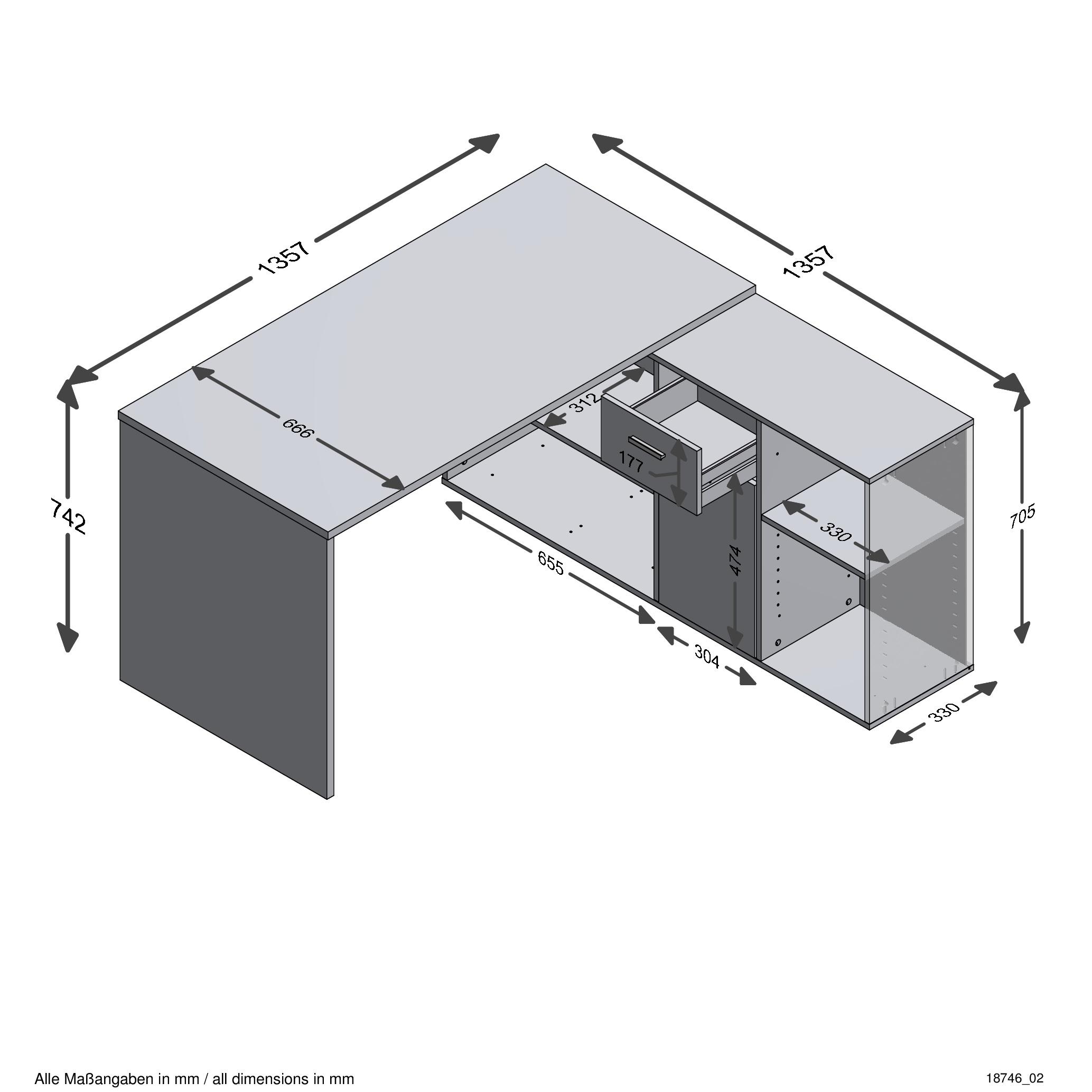 Lex Winkelkombi Schreibtisch Weiß Fmd Eckschreibtisch