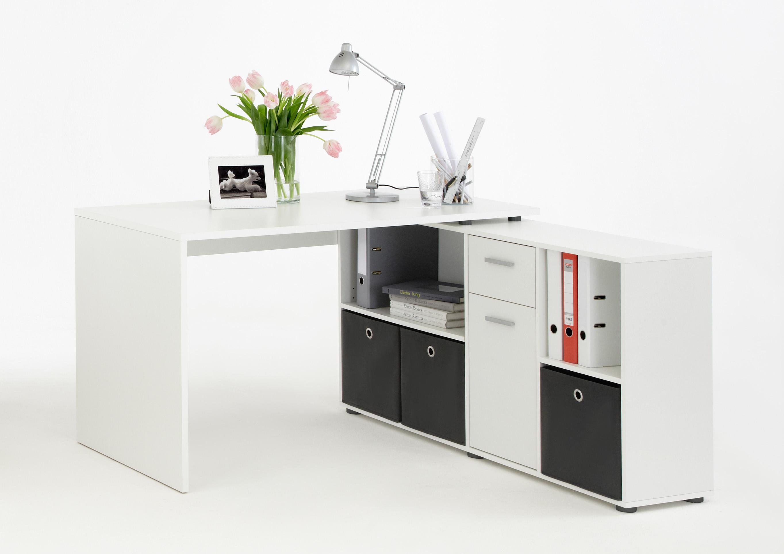 Schreibtisch büro weiß  Lex Winkelkombi Schreibtisch Weiß FMD Eckschreibtisch