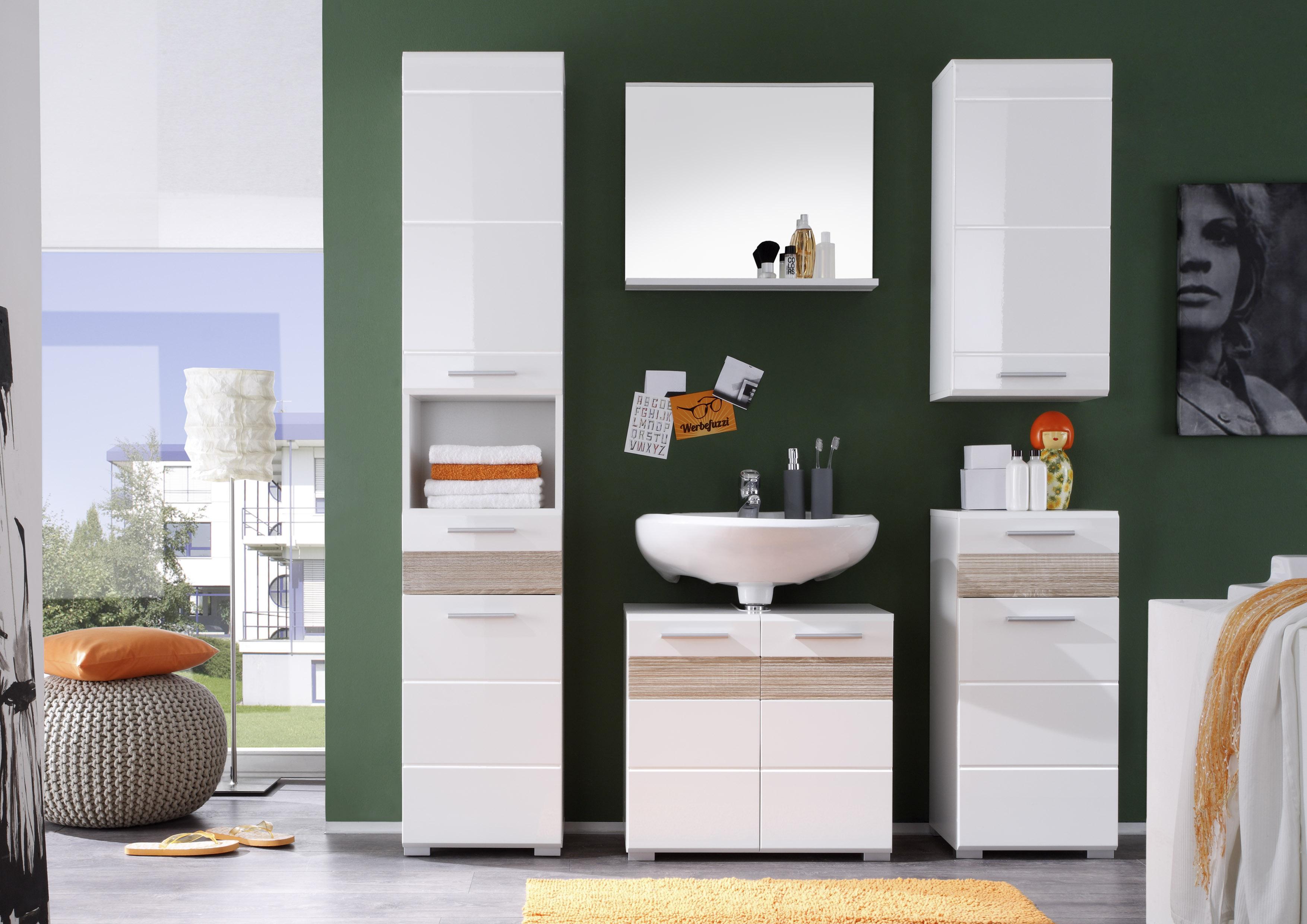 bad hochschrank mezzo von trendteam eiche s gerau hell wei. Black Bedroom Furniture Sets. Home Design Ideas