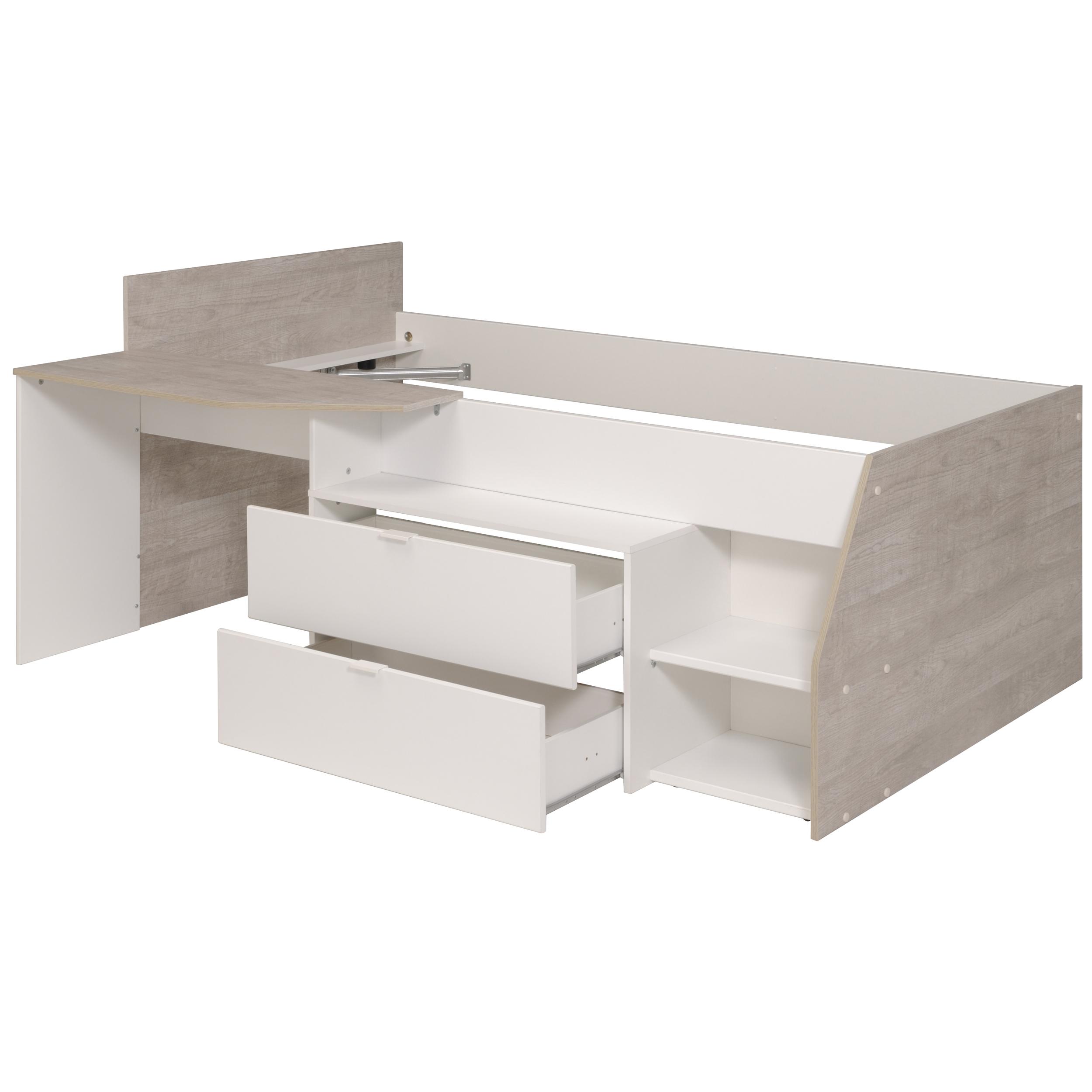 Amüsant Schreibtisch Weiß Mit Schubladen Foto Von 90x200 Hochbett Inkl U 2 Milky B