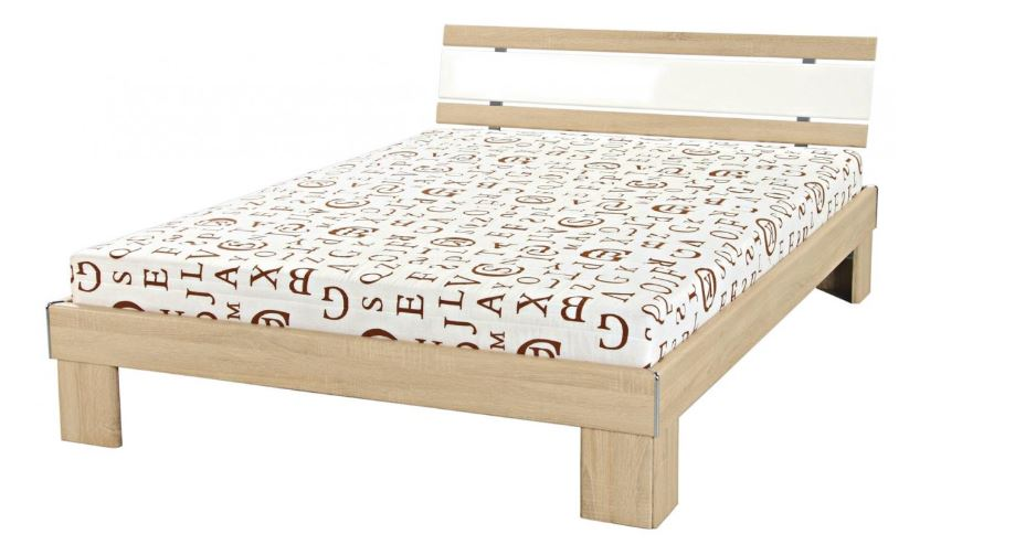 futonbett sonoma eiche weiss hochglanz 140 x 200 cm. Black Bedroom Furniture Sets. Home Design Ideas
