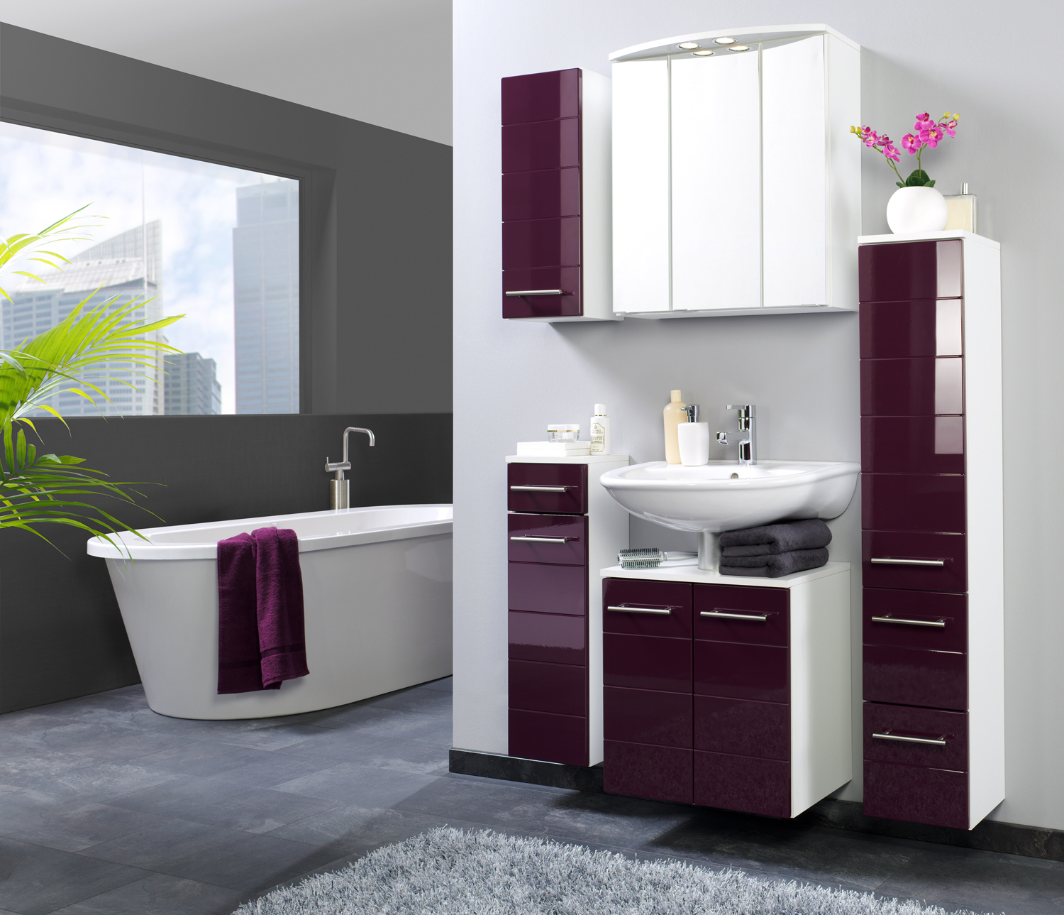 h ngeschrank 25 rimini von held m bel aubergine hgl weiss. Black Bedroom Furniture Sets. Home Design Ideas