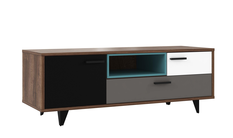 tv unterschrank 1 trg 2 schubk sten raven von forte schlammeiche weiss schwarz gr n. Black Bedroom Furniture Sets. Home Design Ideas