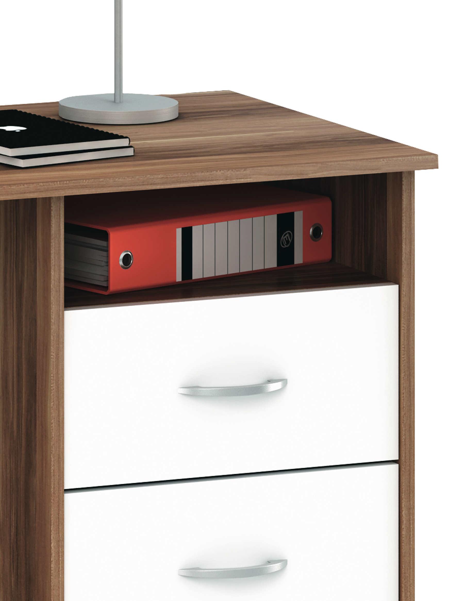 schreibtisch aristote nussbaum weiss mit 3 schubk sten ablage. Black Bedroom Furniture Sets. Home Design Ideas