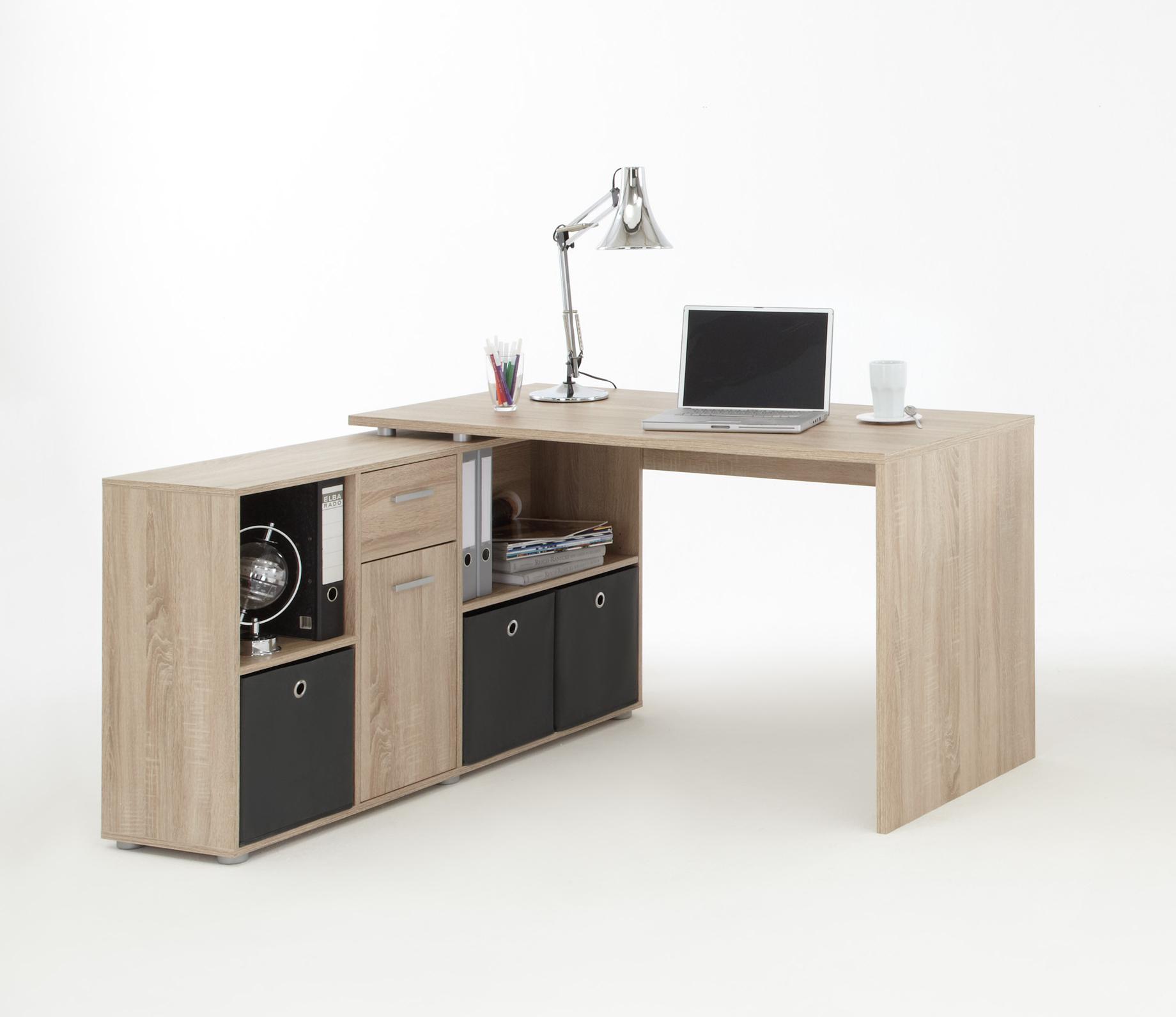 Lex winkelkombination eiche dekor schreibtisch for Schreibtisch eiche dekor