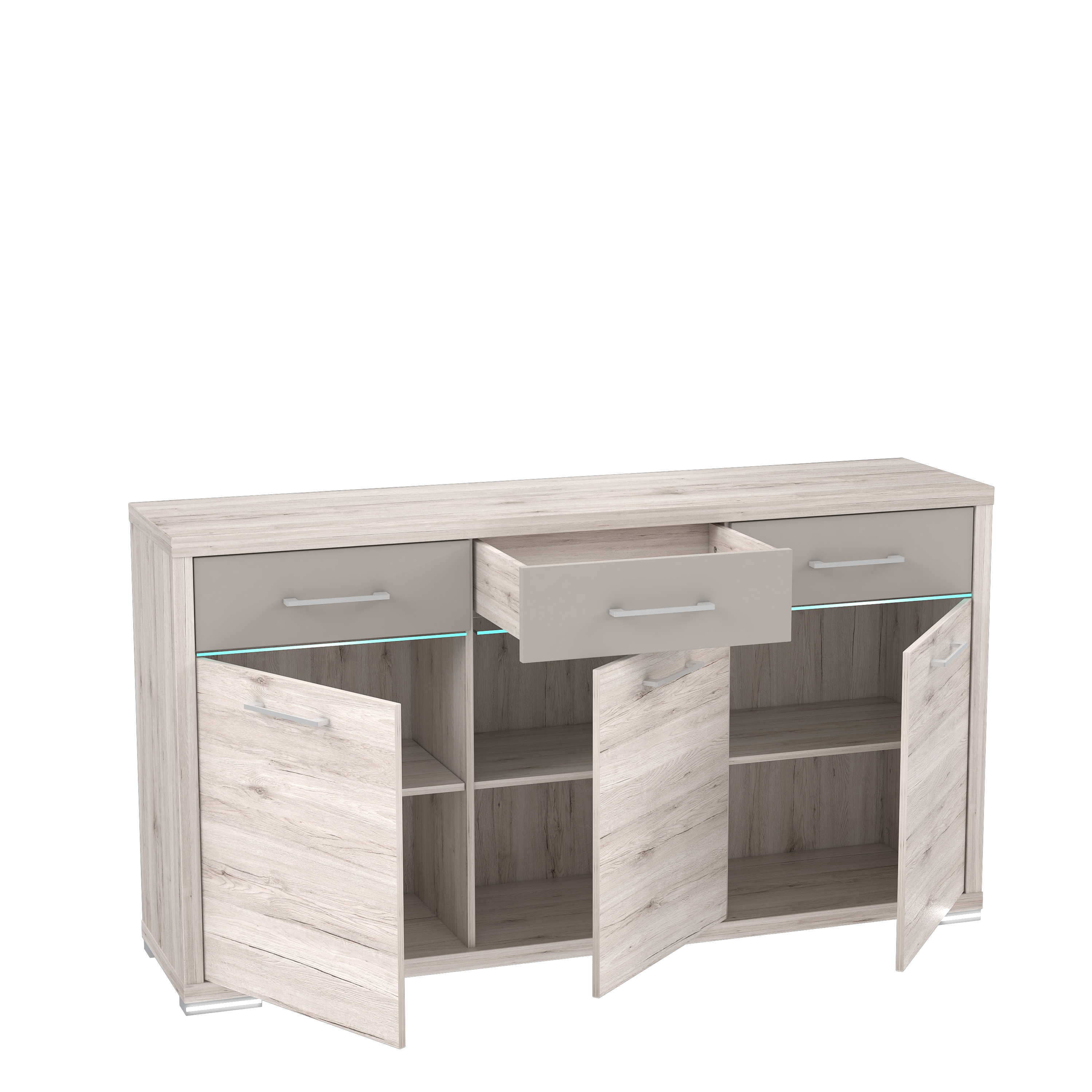 Sideboard Inkl Led Beleuchtung Stay Von Forte Sandeiche Cacao