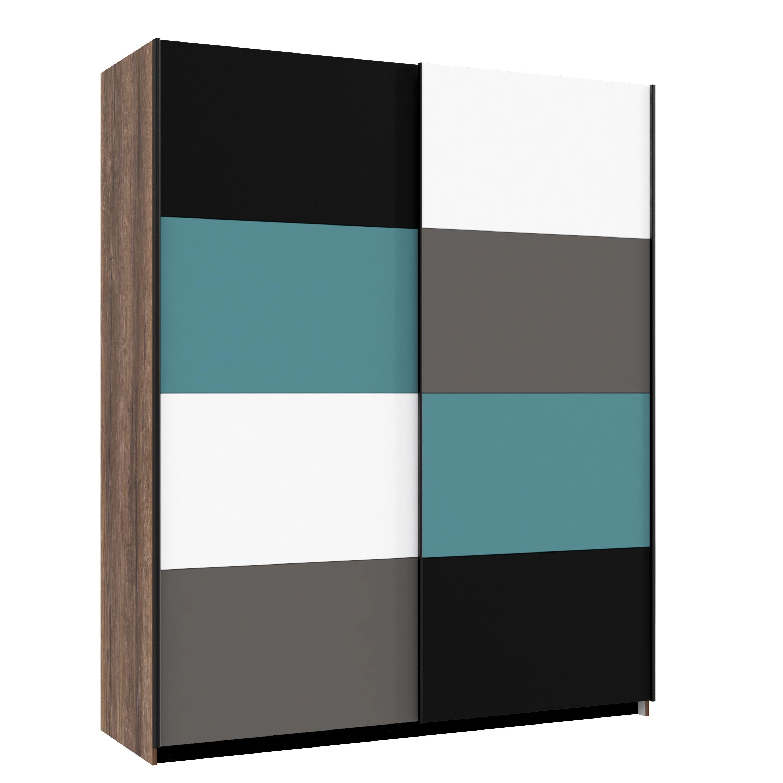 schwebet renschrank raven von forte schlammeiche weiss schwarz gr n. Black Bedroom Furniture Sets. Home Design Ideas