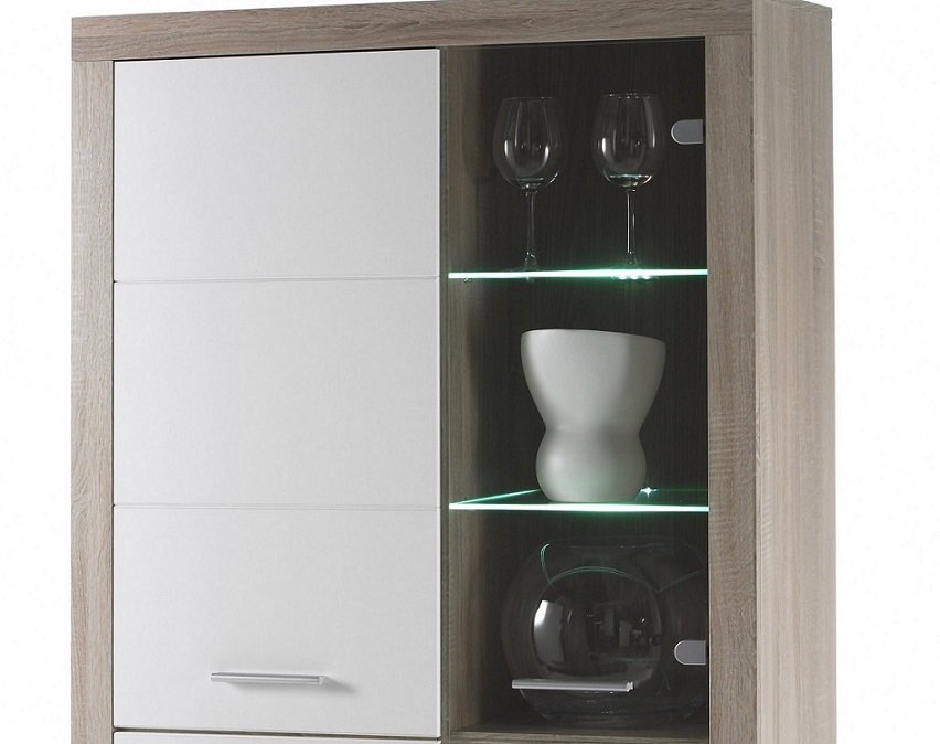 Vitrine 4 Trg Can Can T5 Inkl Led Beleuchtung Von Hbz Sonoma Eiche