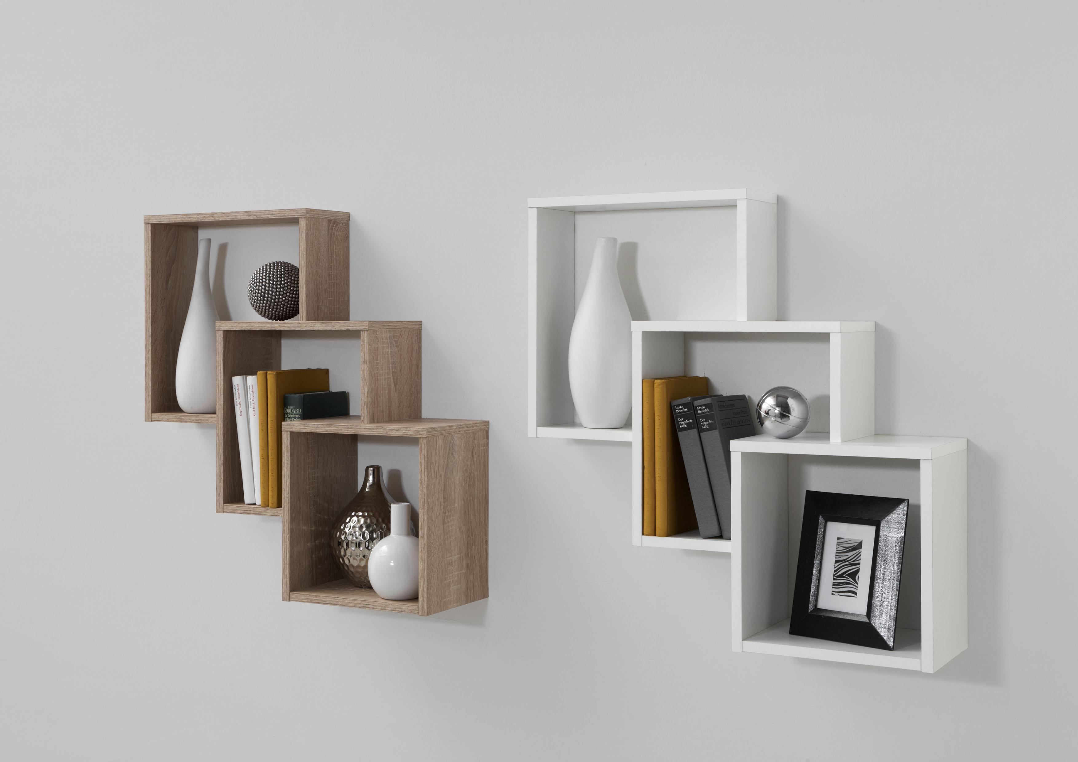 fibi wandregal mit 3 f chern von fmd wei. Black Bedroom Furniture Sets. Home Design Ideas