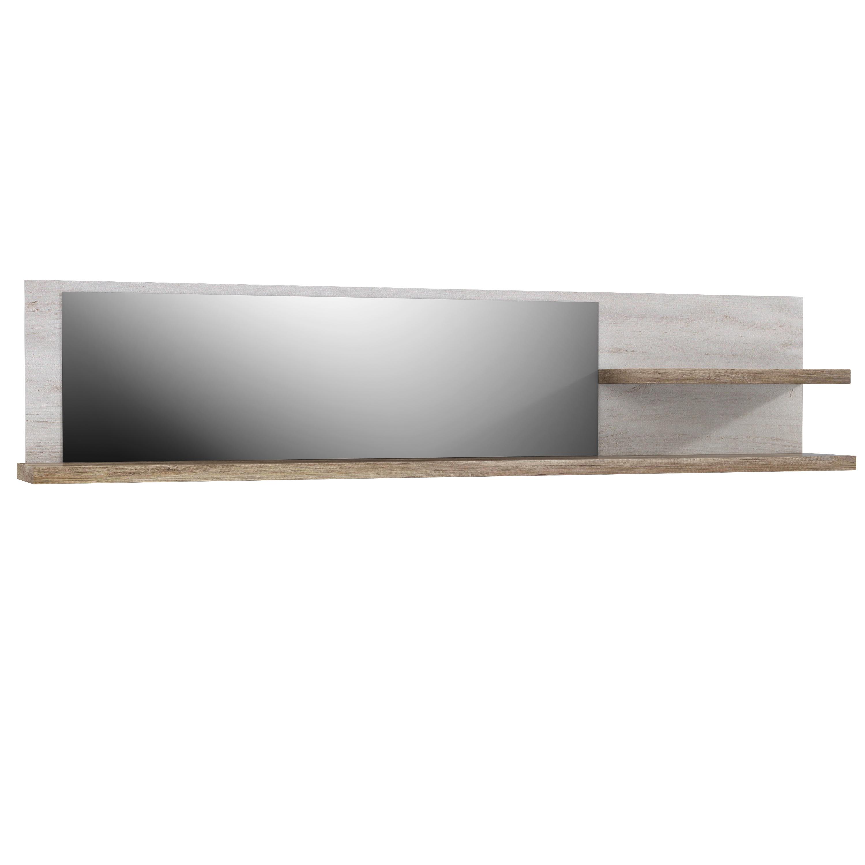 wandregal inkl spiegel duro von forte pinia wei eiche antik. Black Bedroom Furniture Sets. Home Design Ideas