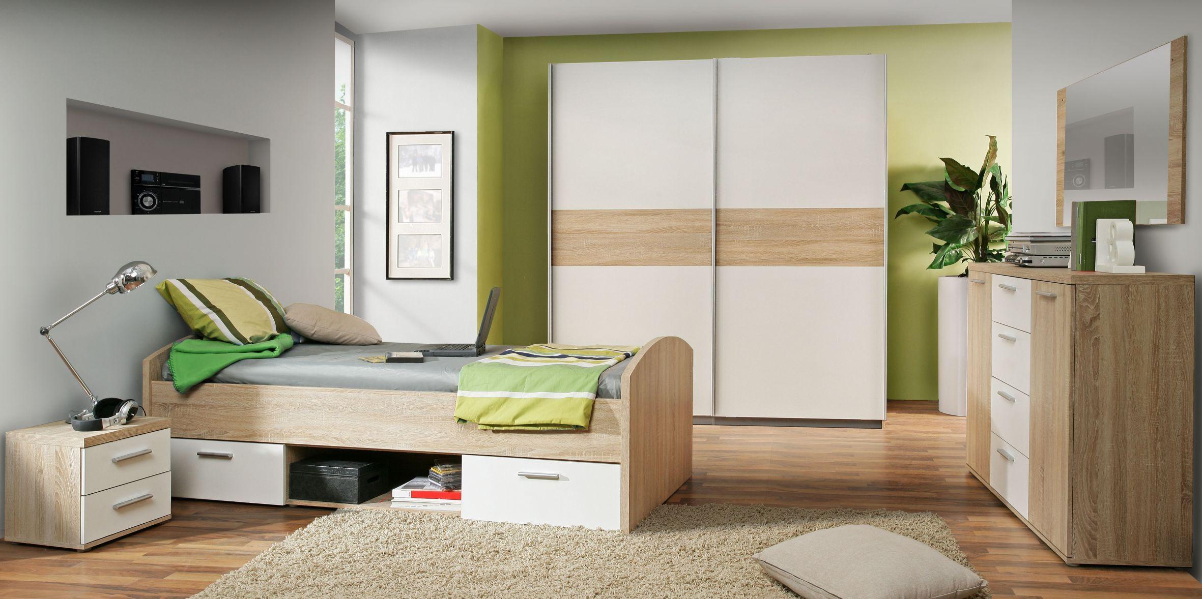schweber 170 cm breit winnie von forte sonoma eiche weiss. Black Bedroom Furniture Sets. Home Design Ideas