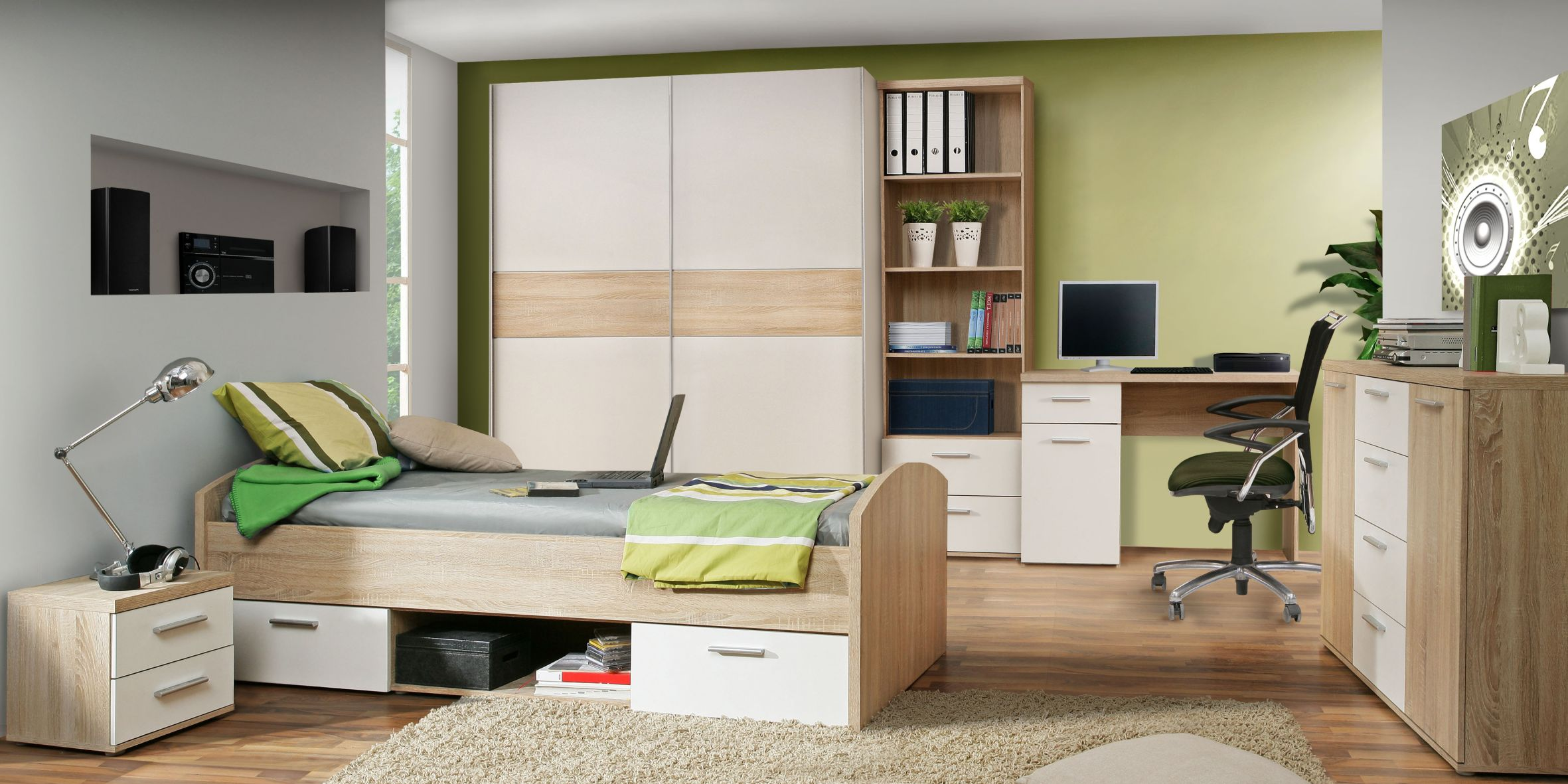 kommode 2 schubk sten winnie von forte sonoma eiche weiss. Black Bedroom Furniture Sets. Home Design Ideas