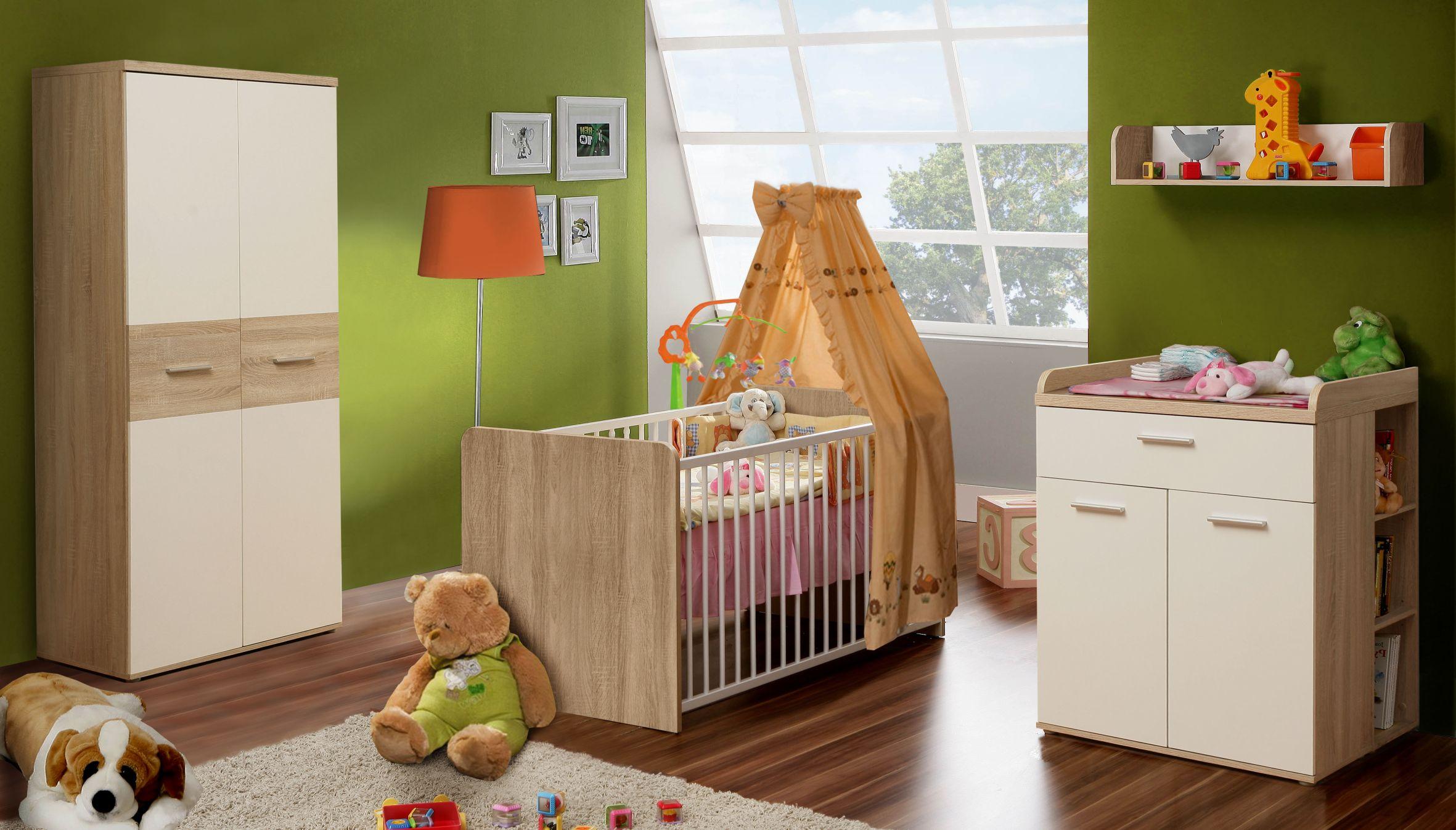 70x140 babybett inkl lattenrost 3fach h henverstellbar winnie von forte sonoma eiche weiss. Black Bedroom Furniture Sets. Home Design Ideas
