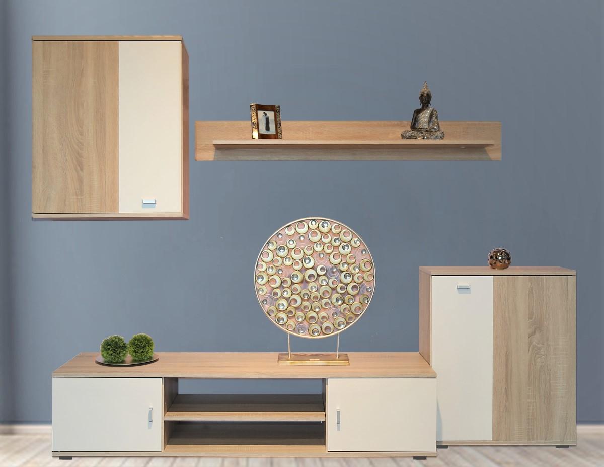 wohnwand paco sonoma eiche 4 tlg ca b h t 250 170 40cm. Black Bedroom Furniture Sets. Home Design Ideas