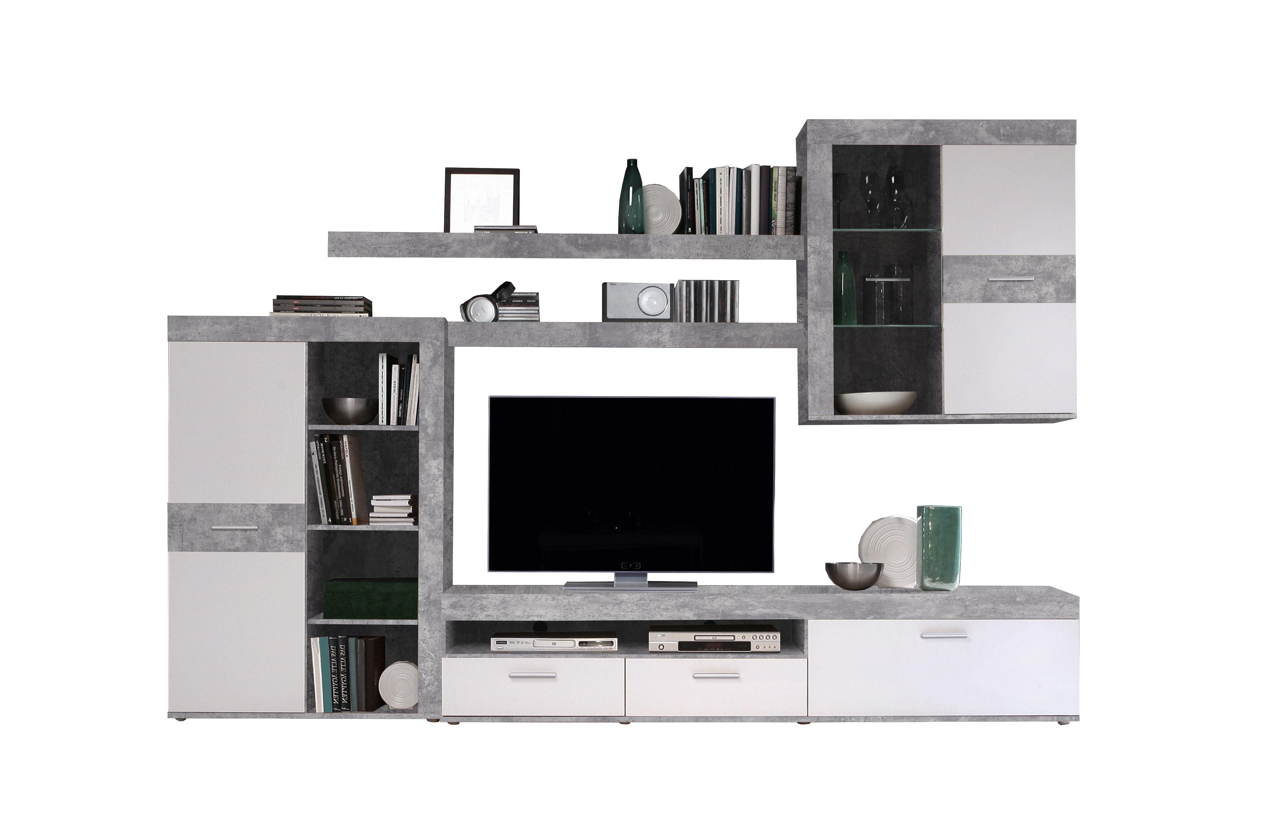 wohnwand inkl beleuchtung zumba von forte beton weiss. Black Bedroom Furniture Sets. Home Design Ideas