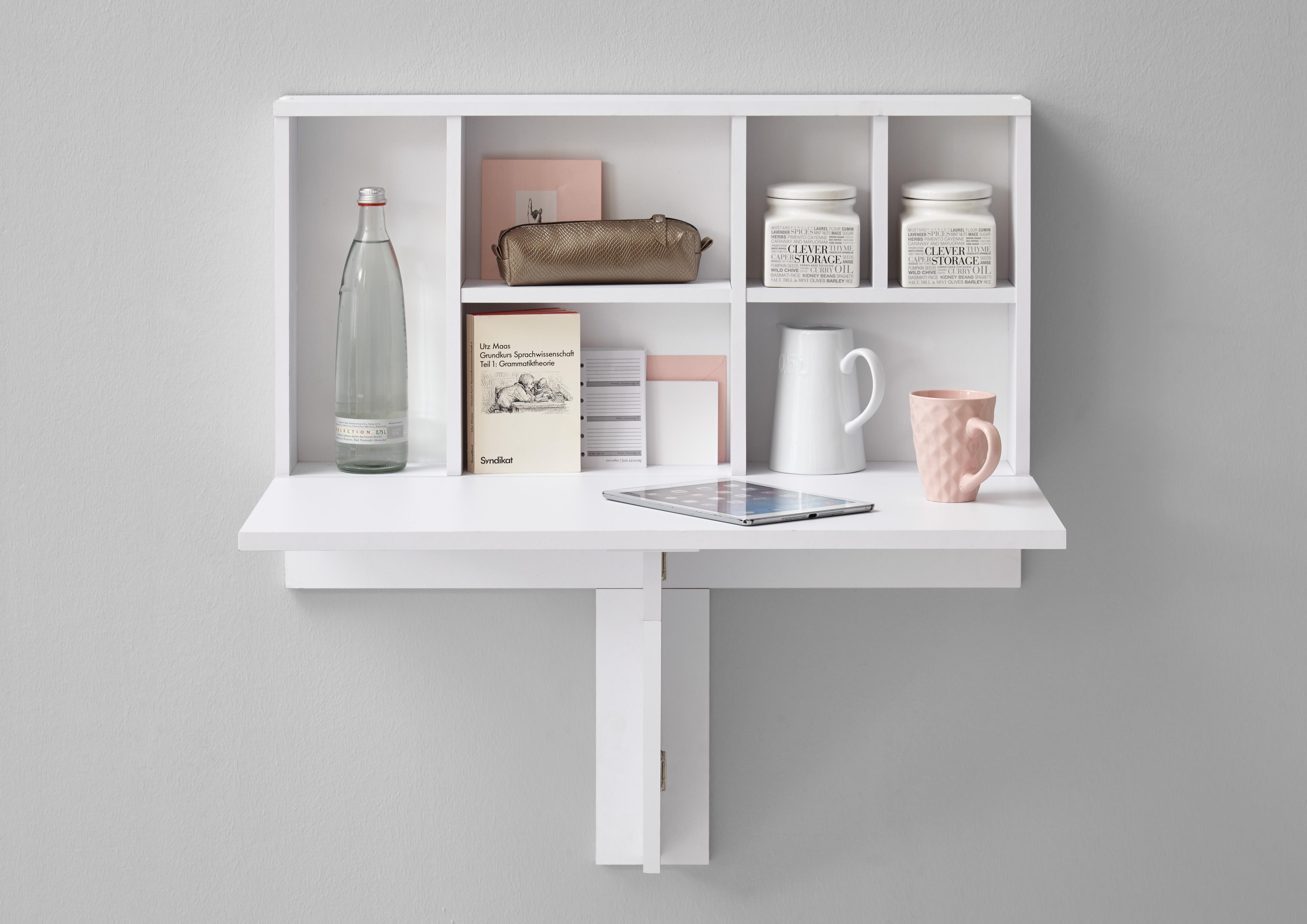 arta 2 klapptisch inkl regal von fmd brillantweiss. Black Bedroom Furniture Sets. Home Design Ideas