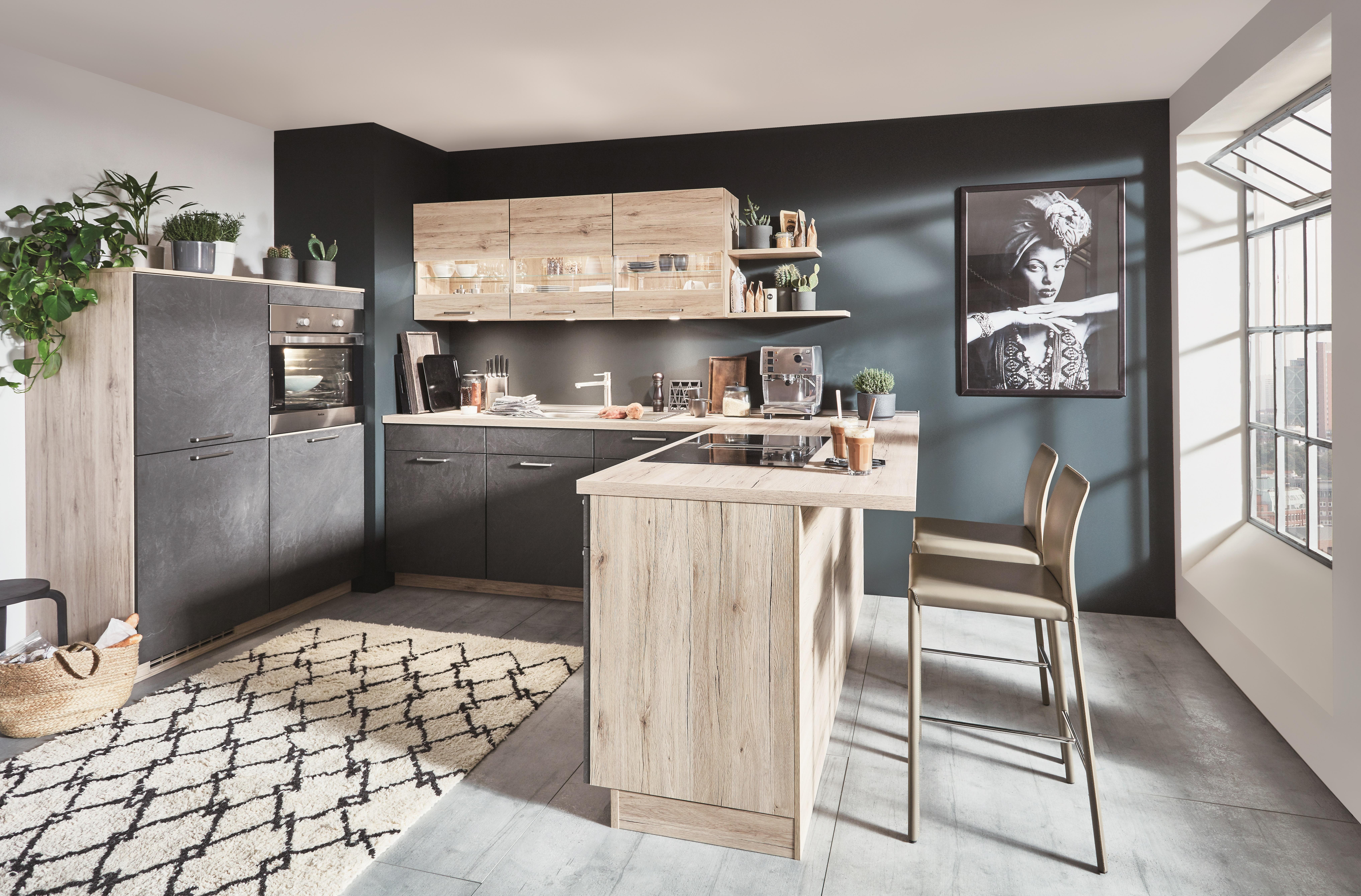 Einbauküche inkl E-Geräte 120 + 261 x 215 cm von Nobilia Grauschiefer /  Eiche San Remo