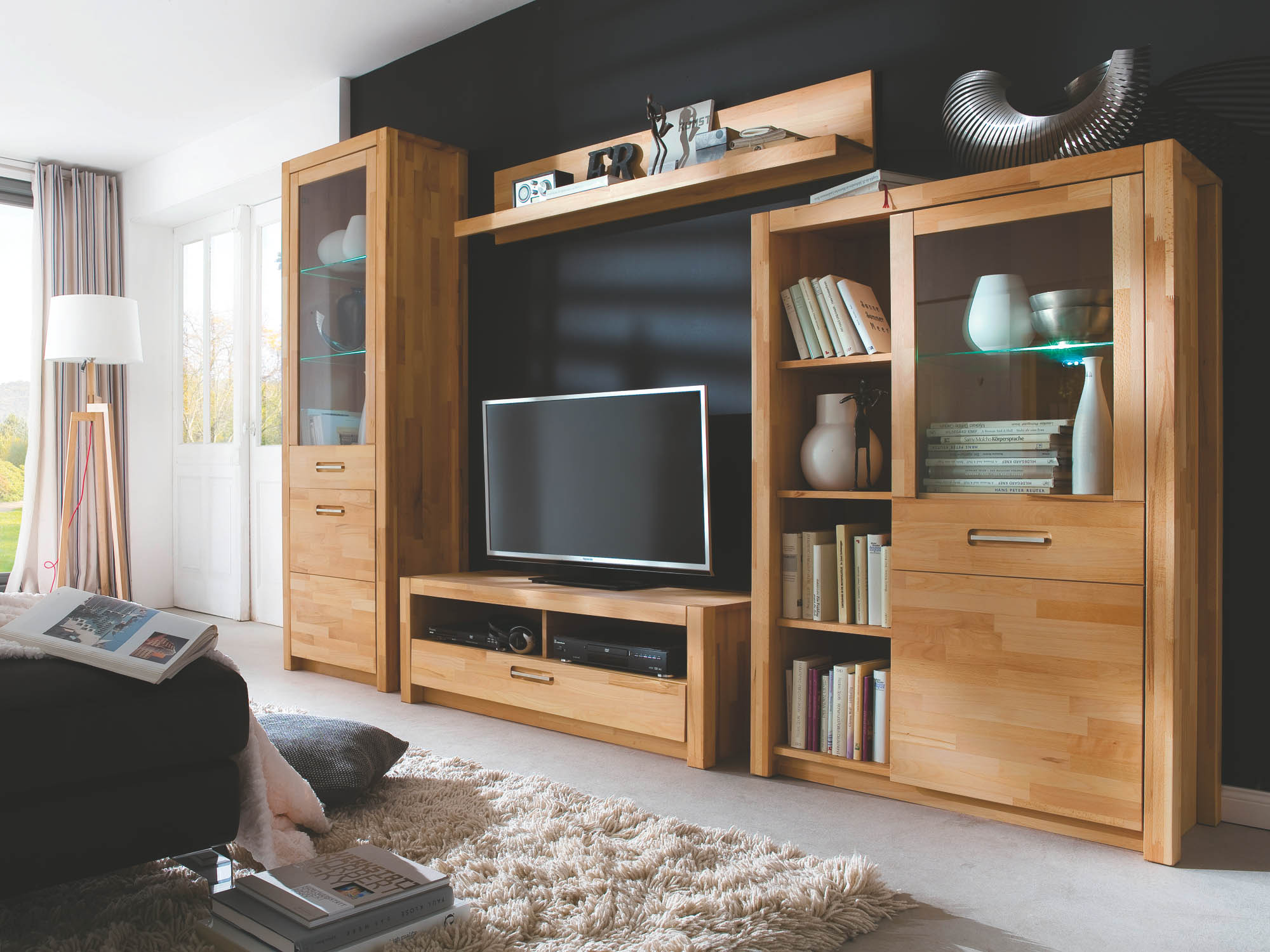 wohnwand inkl beleuchtung 4 tlg fenja von mca furniture kernbuche. Black Bedroom Furniture Sets. Home Design Ideas