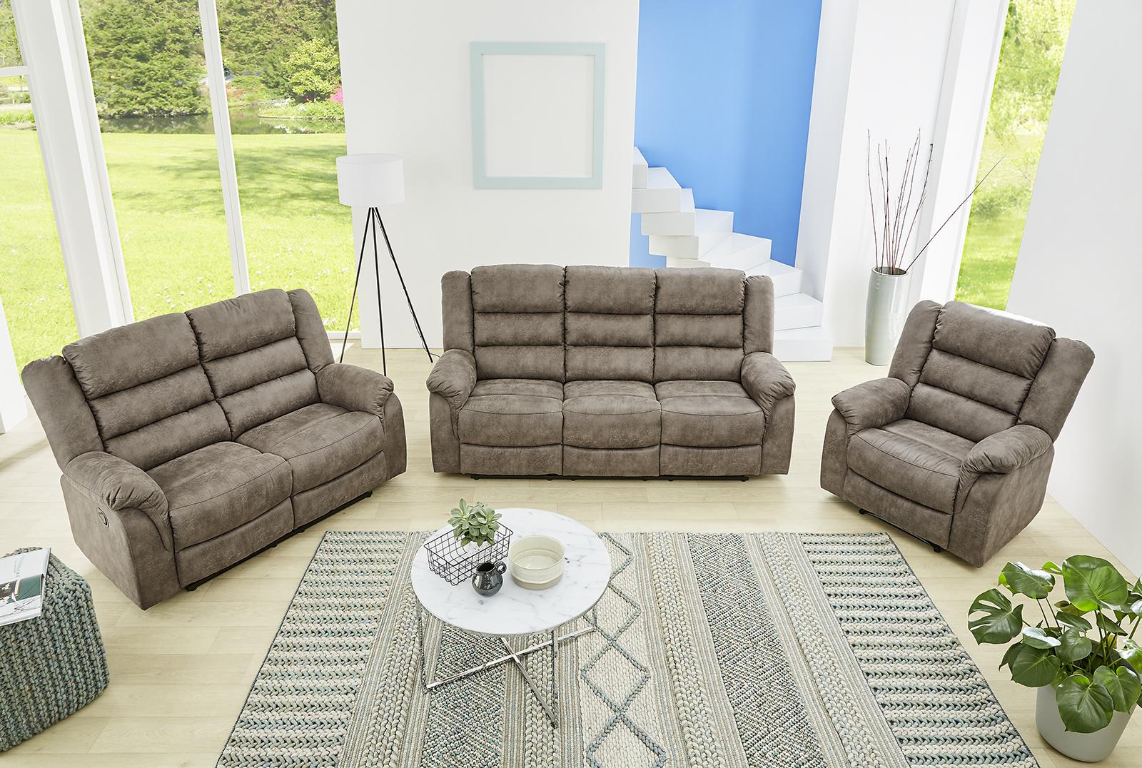 fernsehsessel cleveland inkl liegefunktion von pro com vintage grau braun. Black Bedroom Furniture Sets. Home Design Ideas